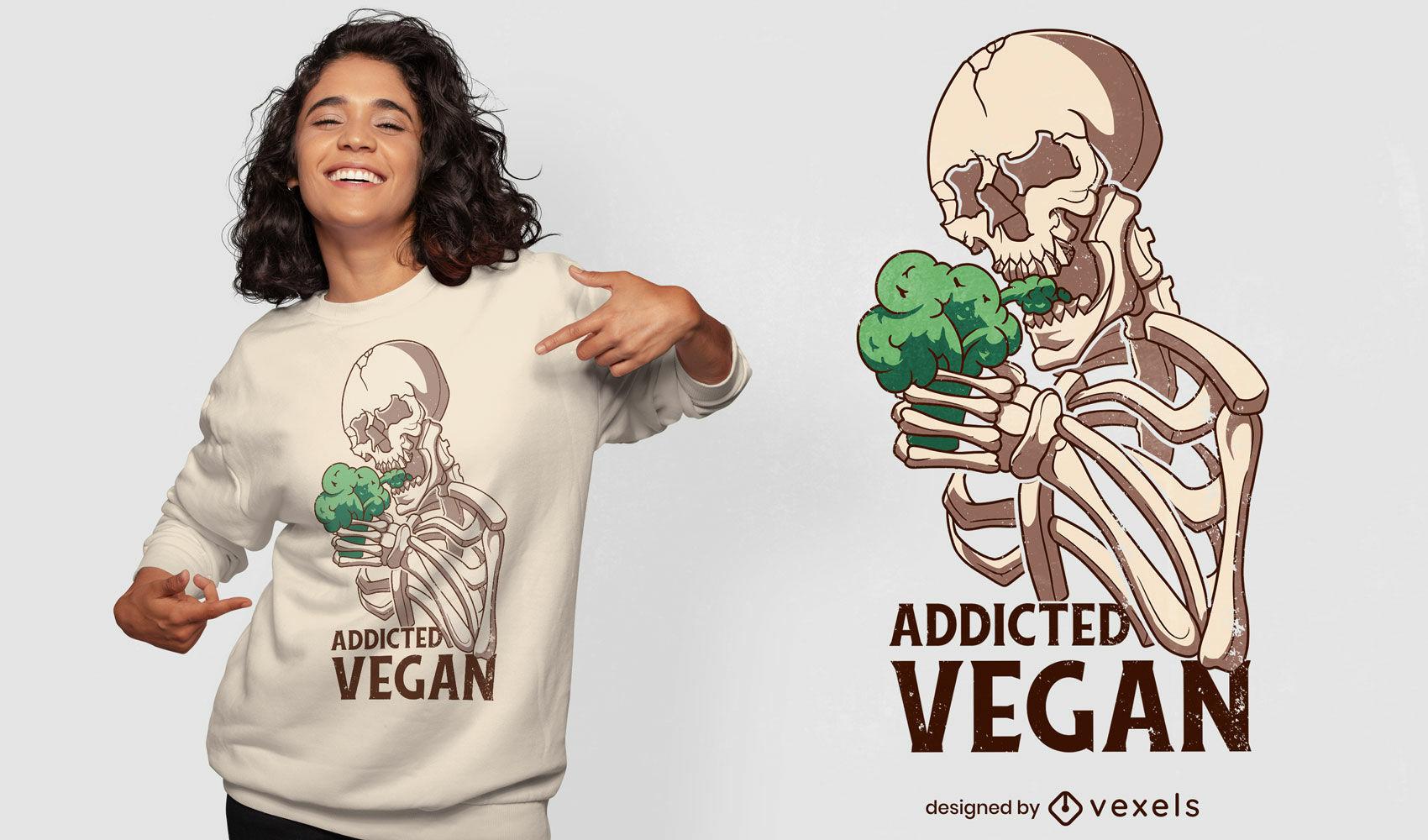 Diseño de camiseta de esqueleto de brócoli vegano