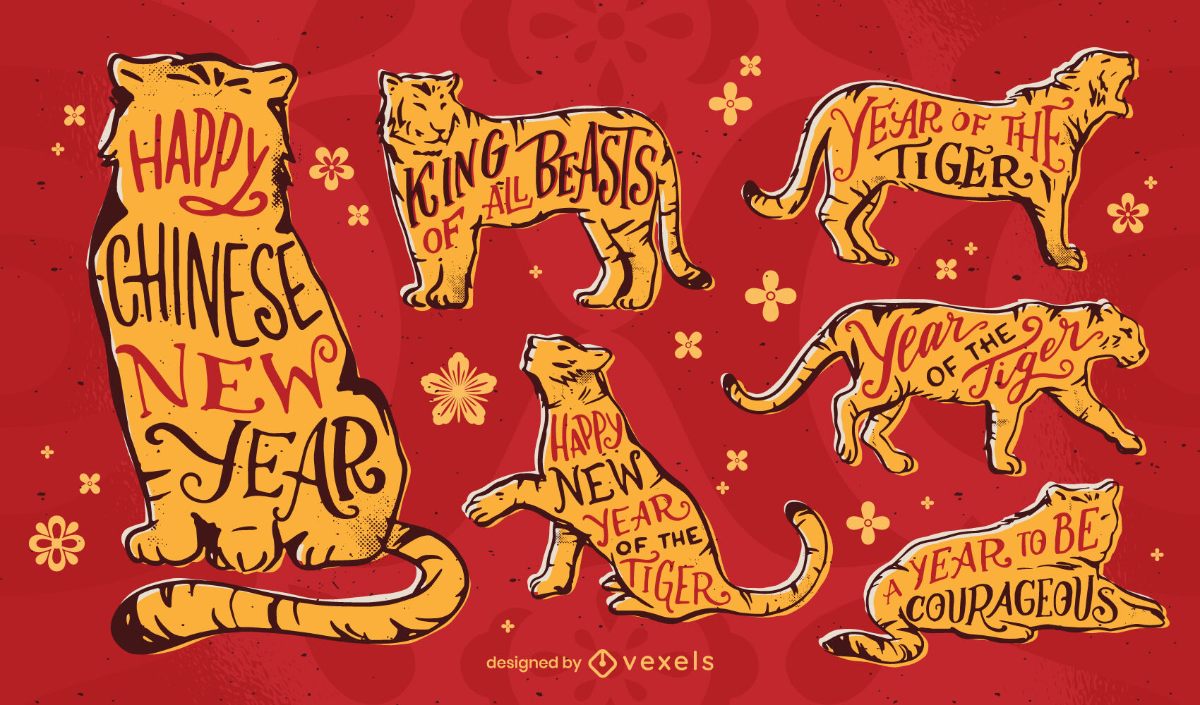 Conjunto de animales del año chino del tigre