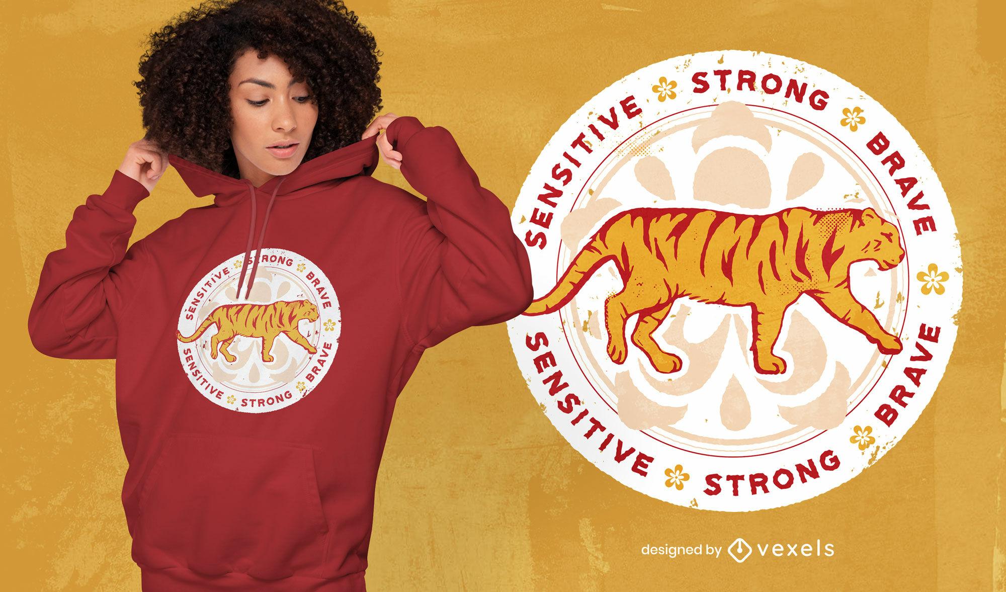 Diseño de camiseta con la insignia del año chino del tigre.