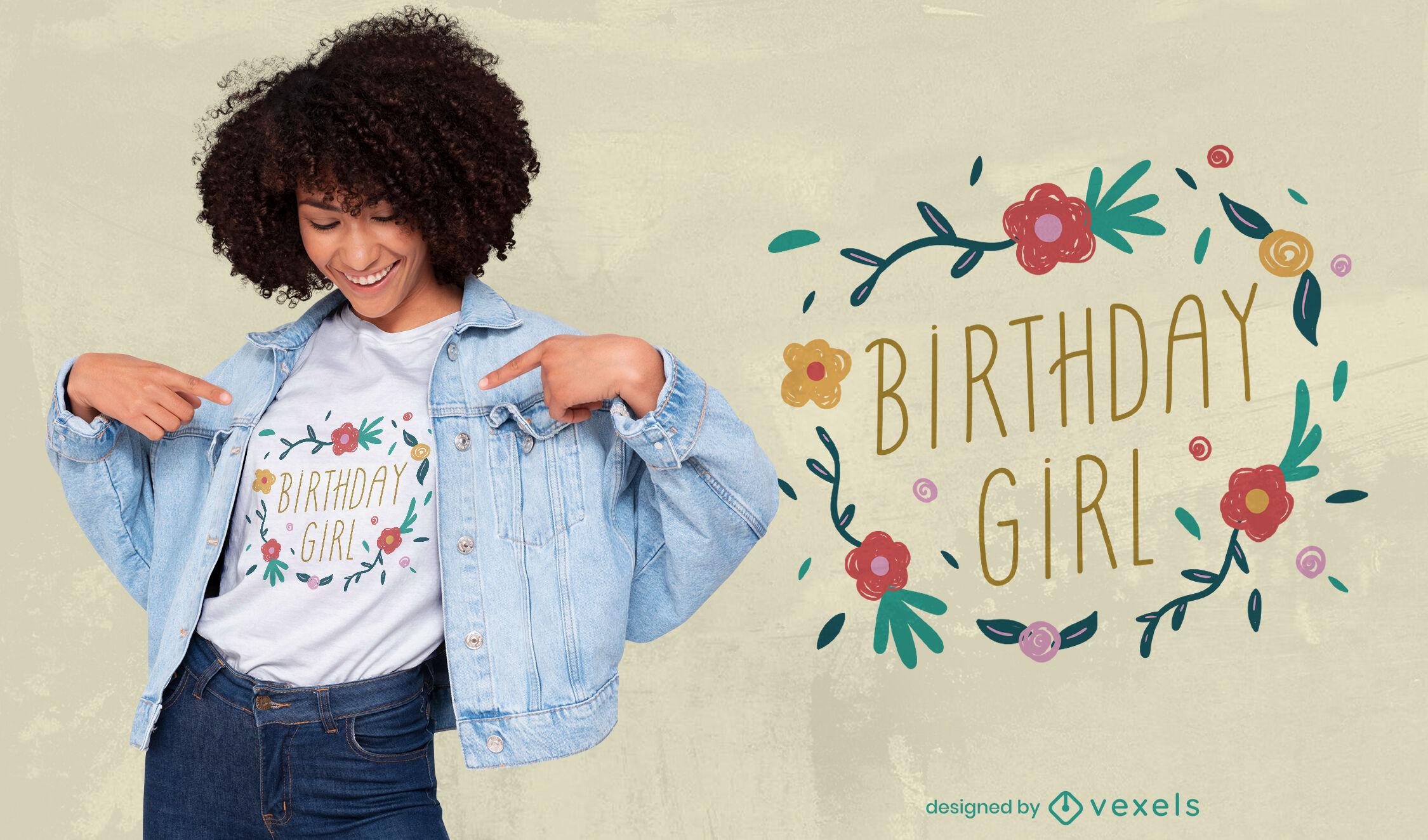 Diseño de camiseta con insignia floral de niña de cumpleaños.