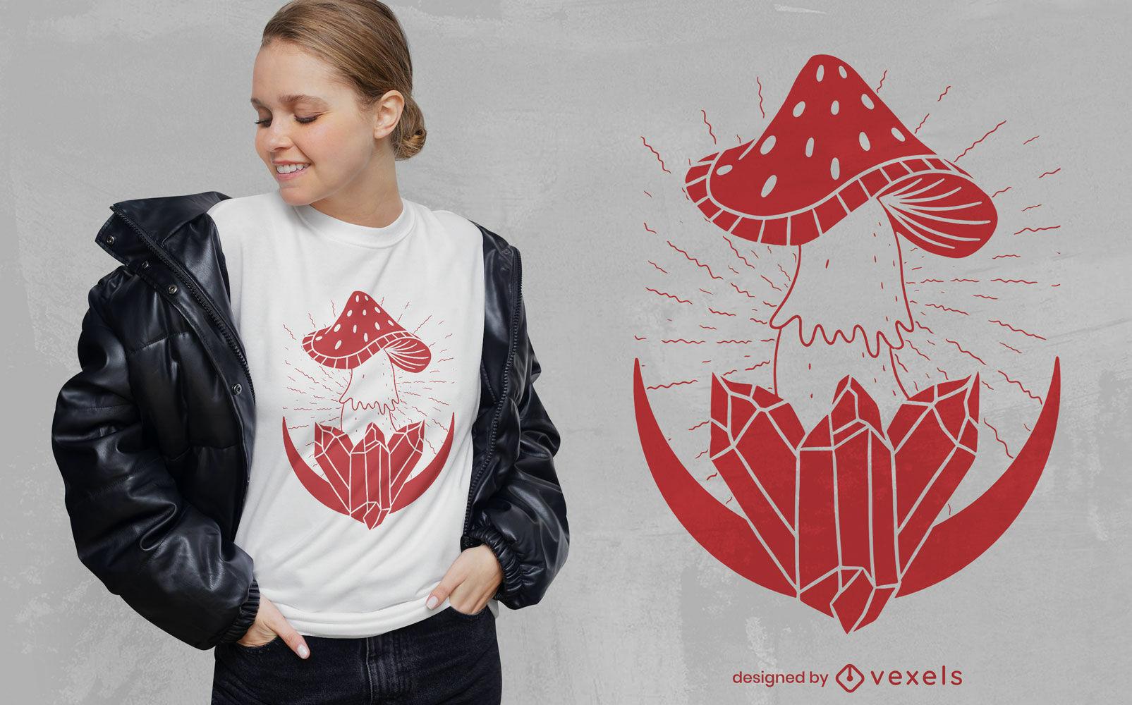 Diseño de camiseta de setas y cristales.