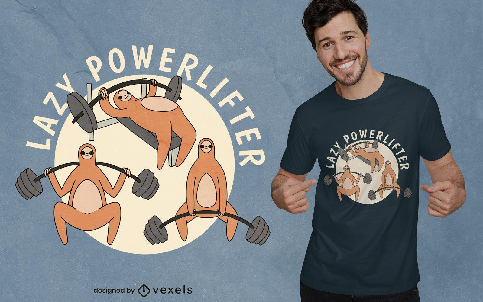 Diseño de camiseta de dibujos animados de powerlifter perezoso