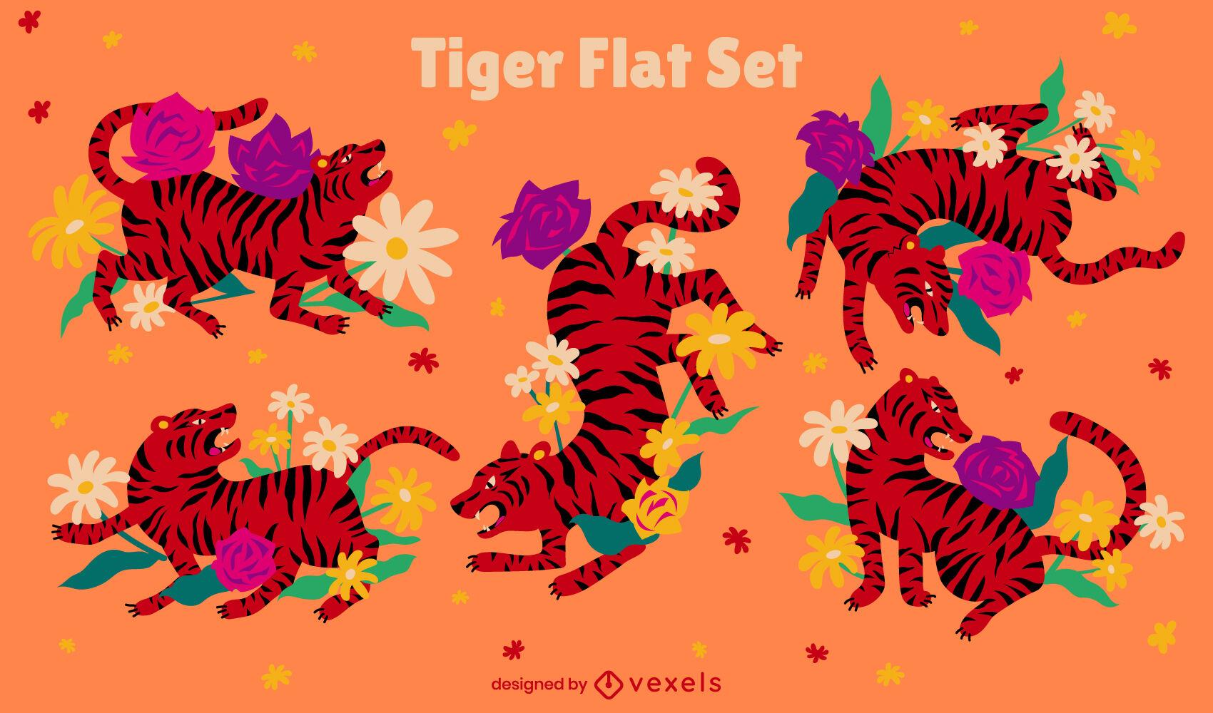 Conjunto plano animal tigre naturaleza floral
