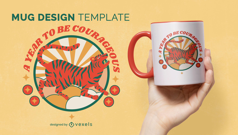 Diseño de taza de animal tigre de año nuevo chino