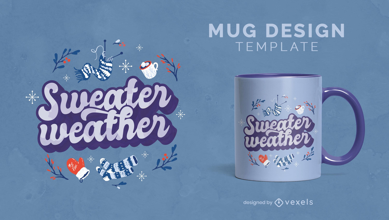 Diseño de taza de cita de invierno de suéter clima