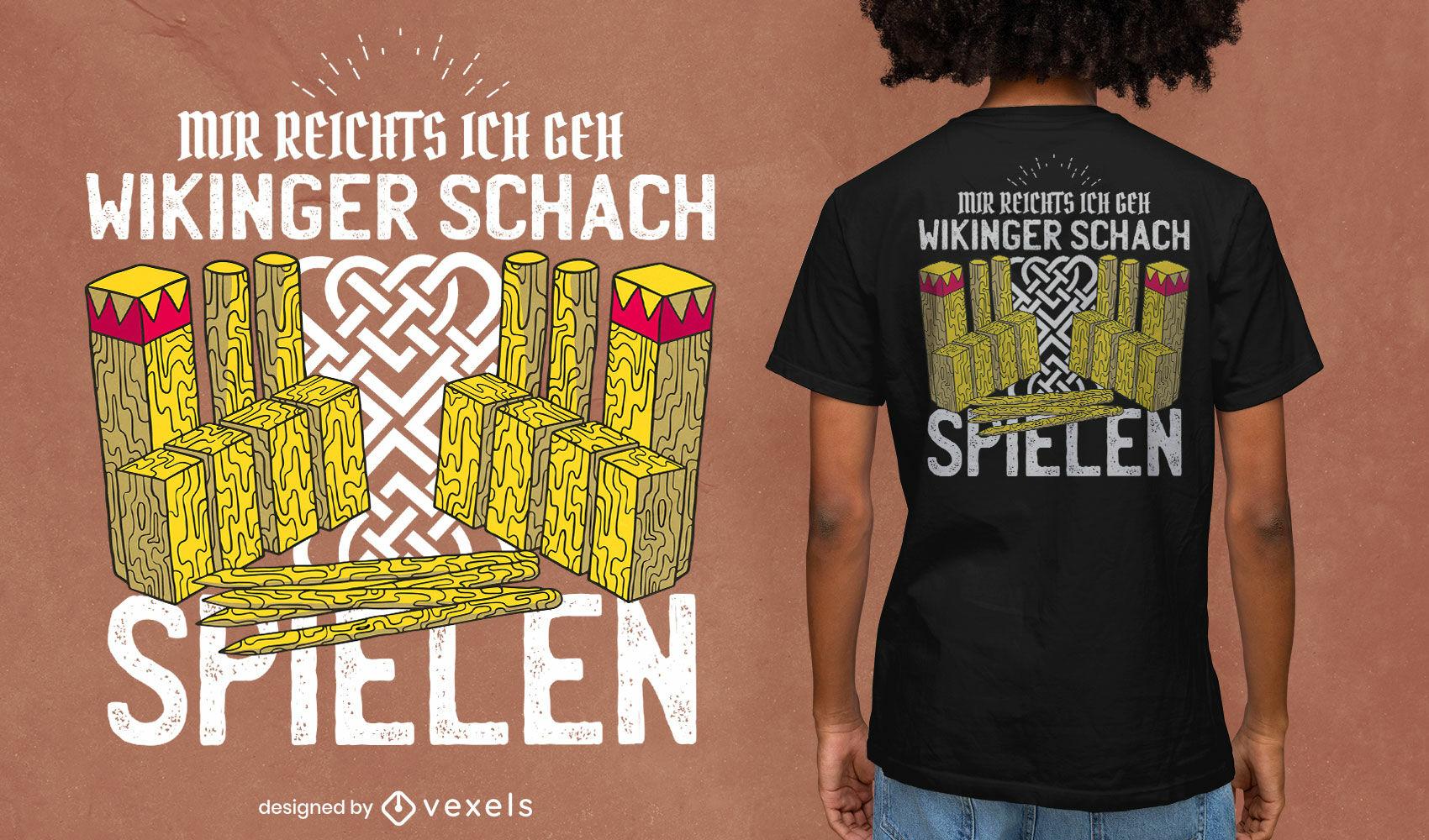Diseño de camiseta de juego de ajedrez vikingo kubb.