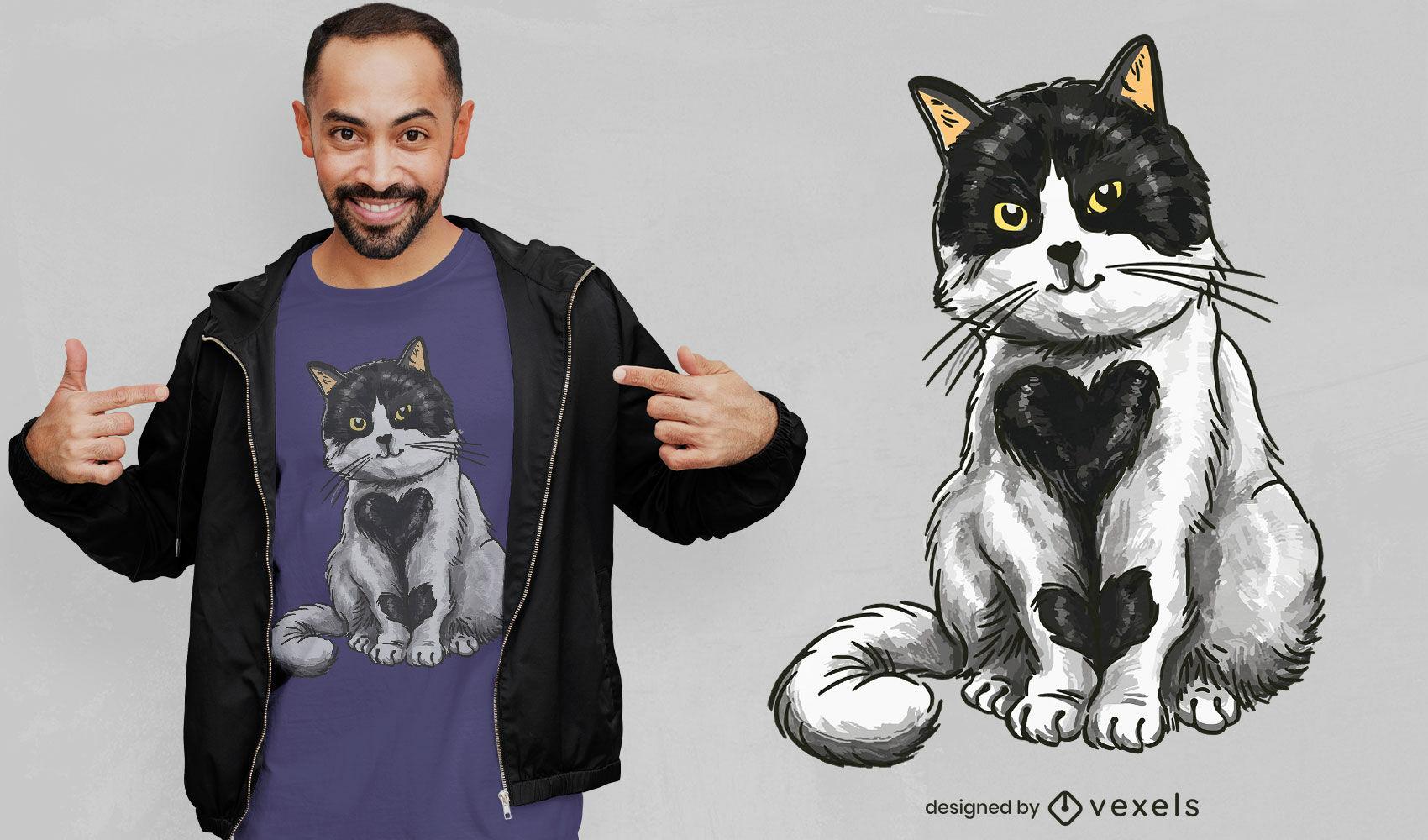 Diseño de camiseta adorable corazón gato