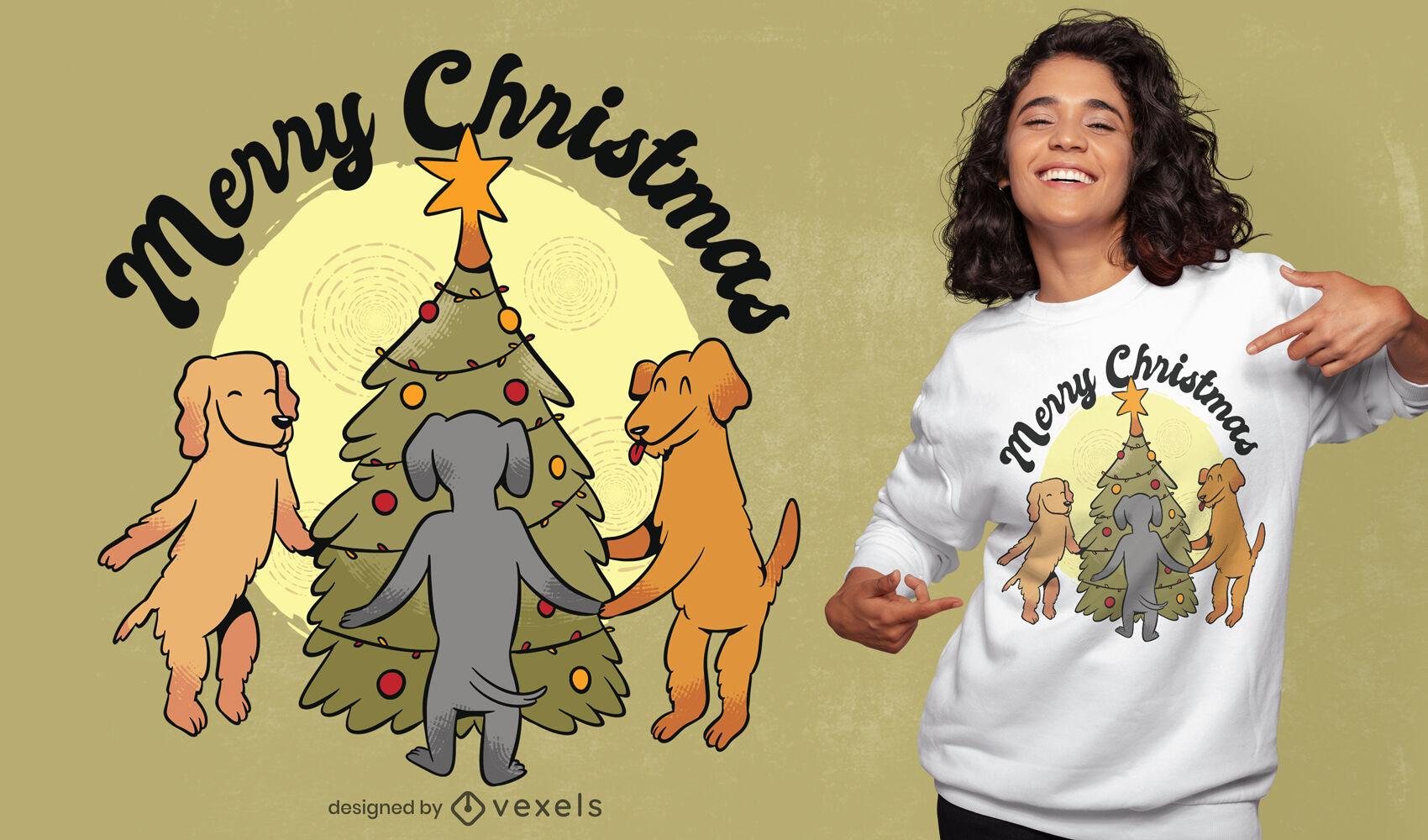 Perros en diseño de camiseta de dibujos animados de árbol de Navidad