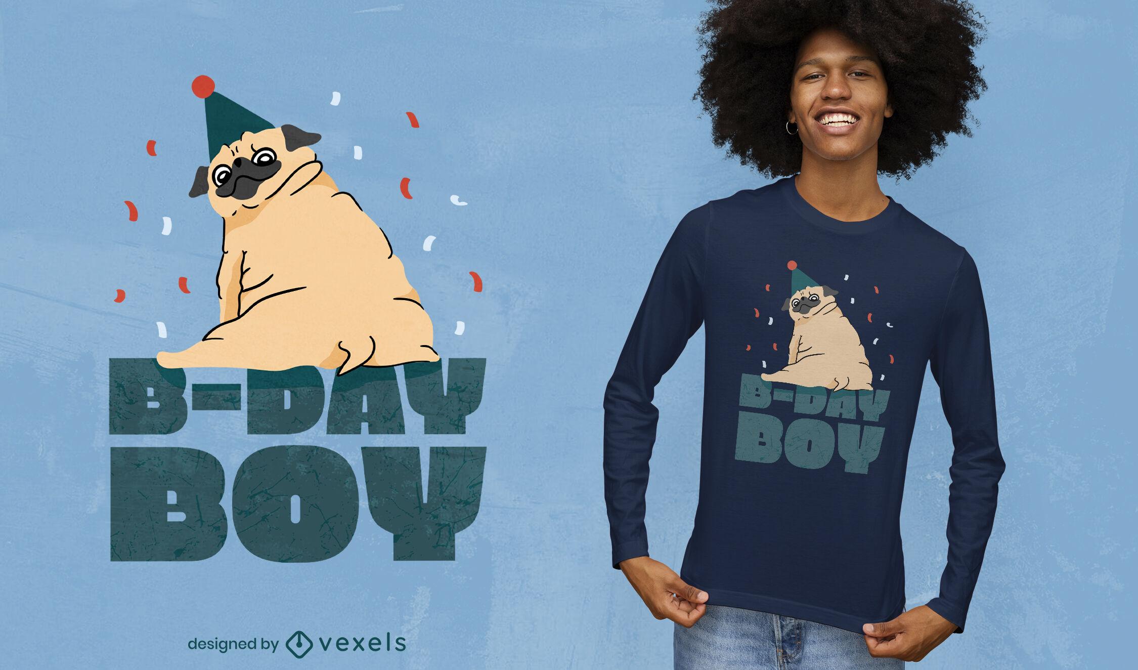 Diseño de camiseta de cumpleaños de perro pug animal