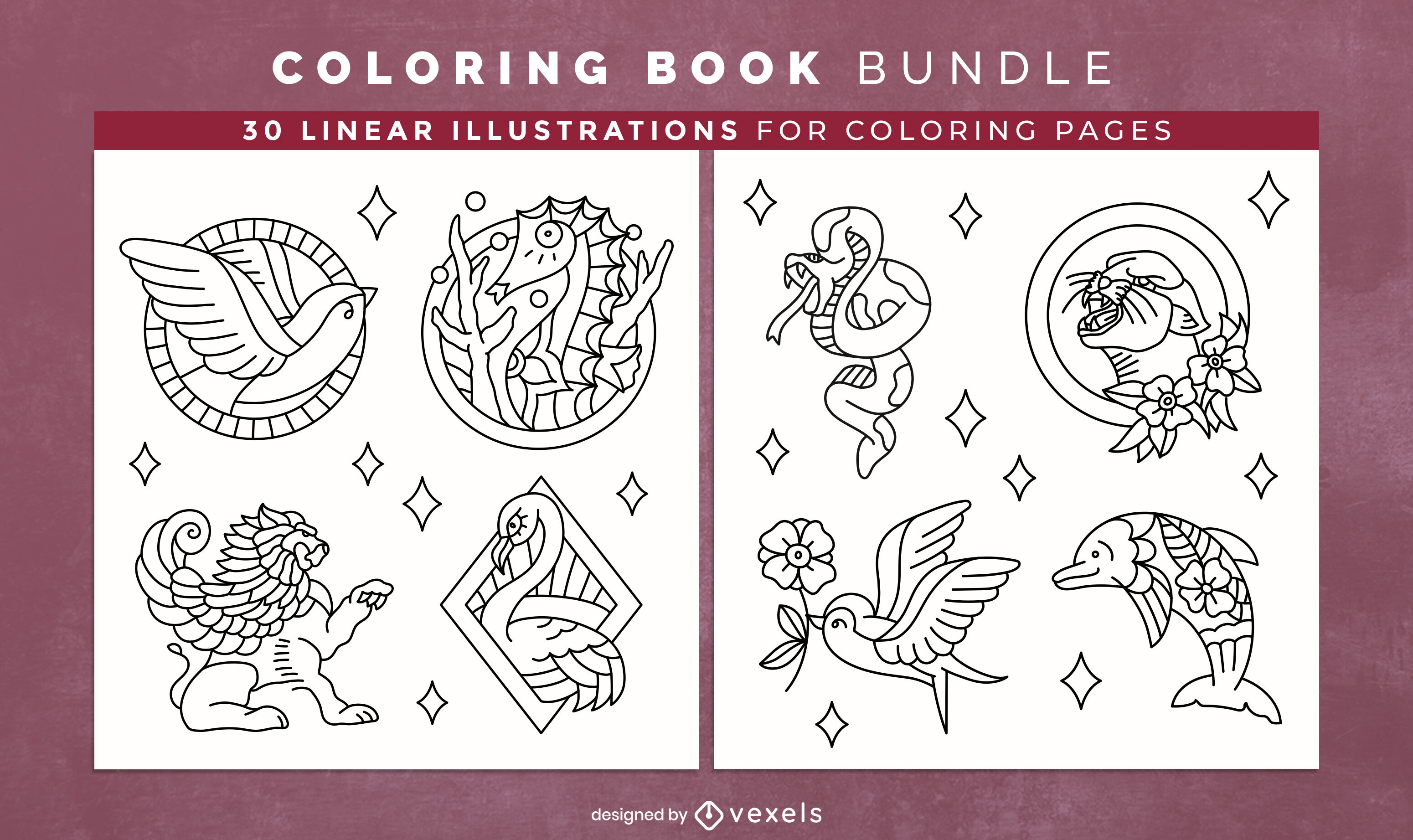 Tattoo animals coloring book design pages