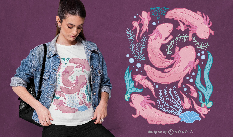 Diseño de camiseta de natación de animales axolotl.