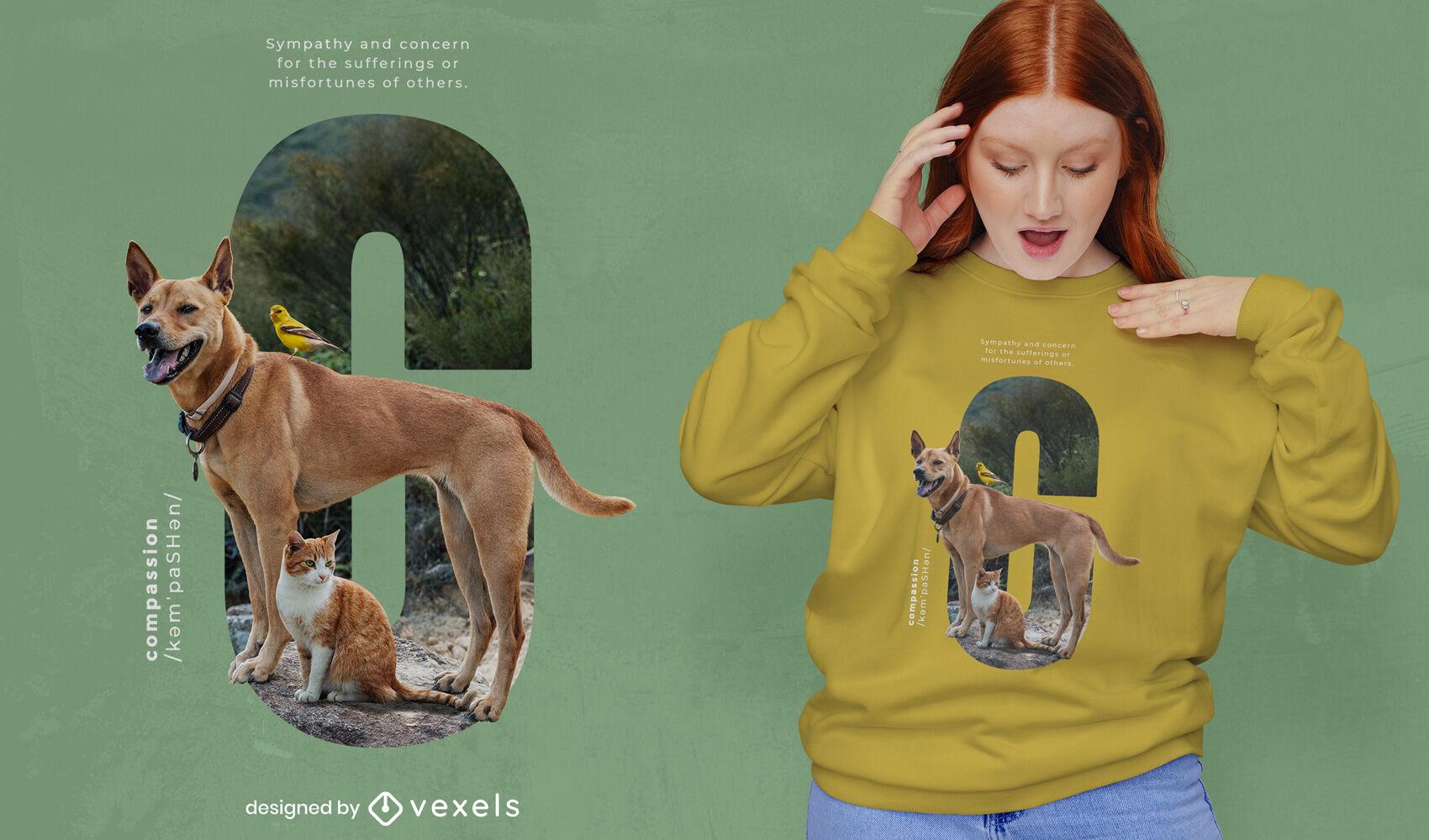 Diseño de camiseta psd de compasión de perros y gatos.