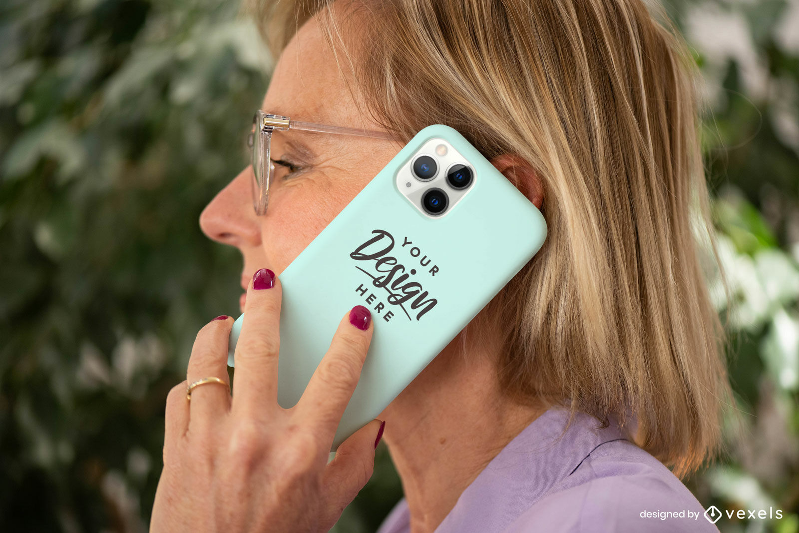 Woman with mint green phone case mockup