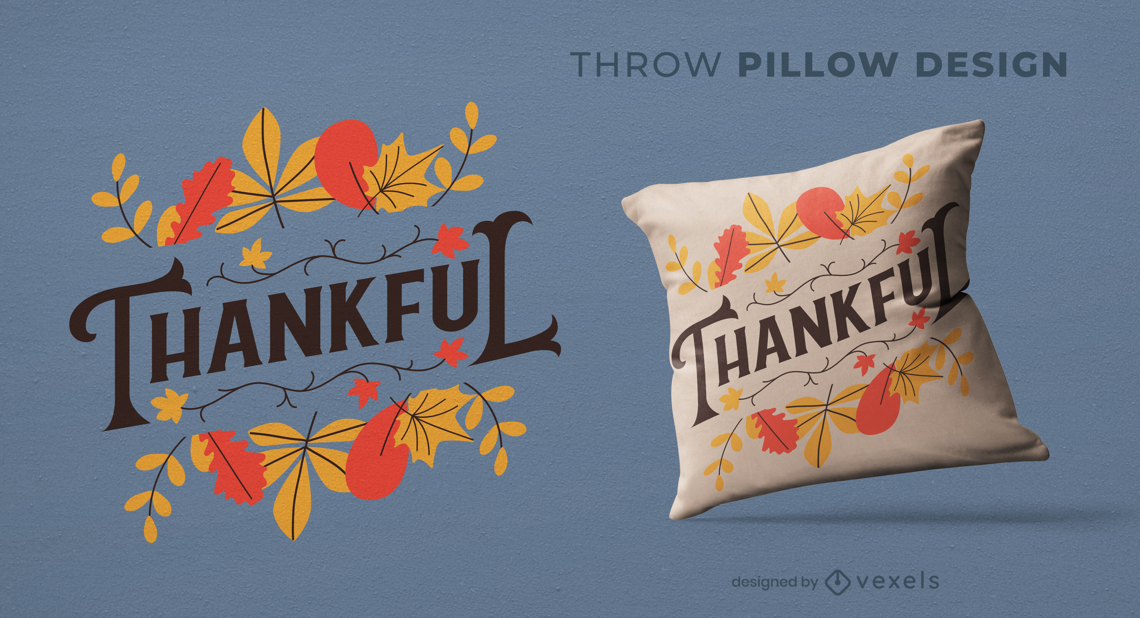 Autumn leaves nature throw pillow design