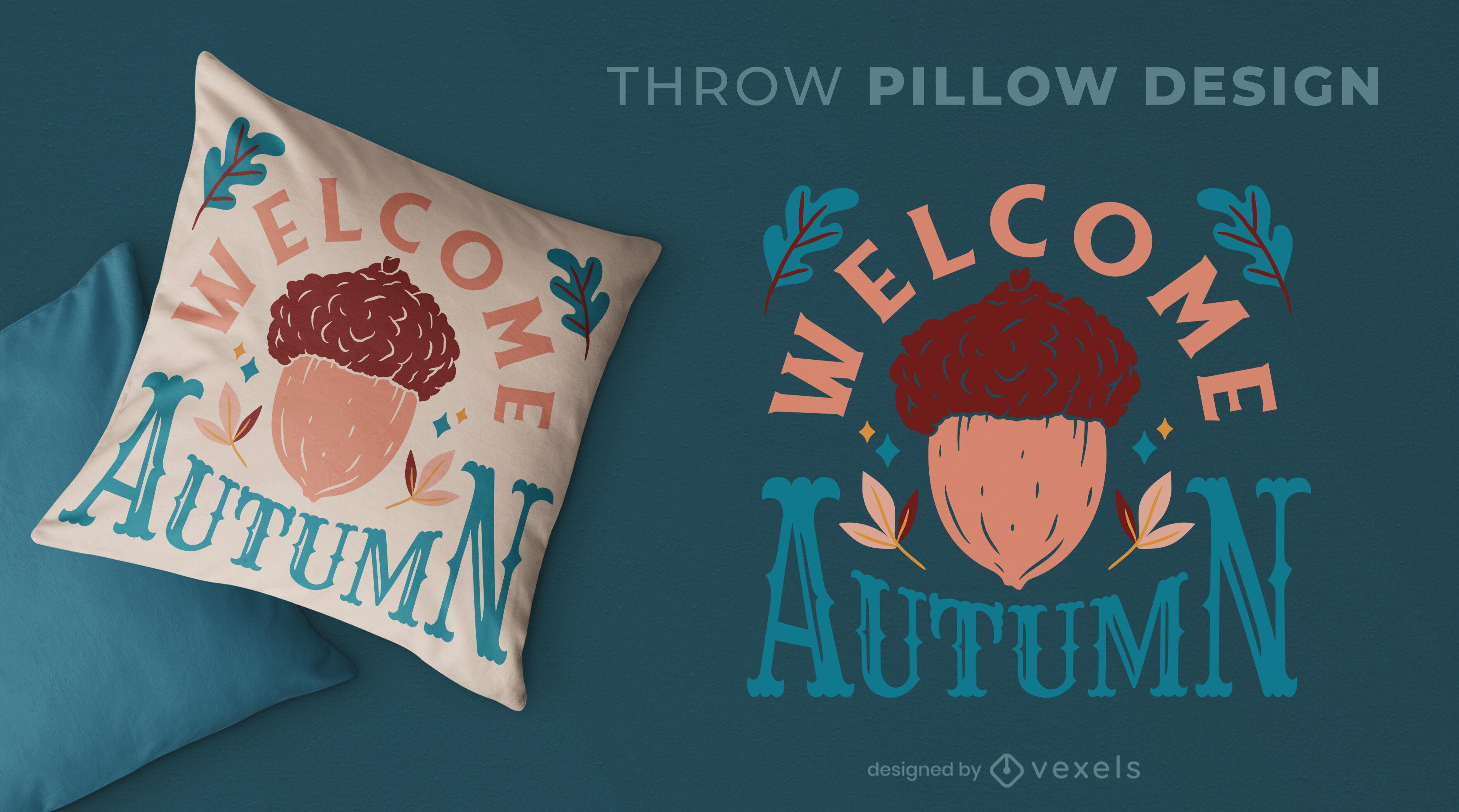 Design de almofada de outono da natureza bolota