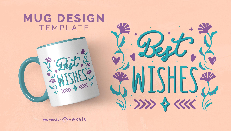 Best wishes floral lettering mug design