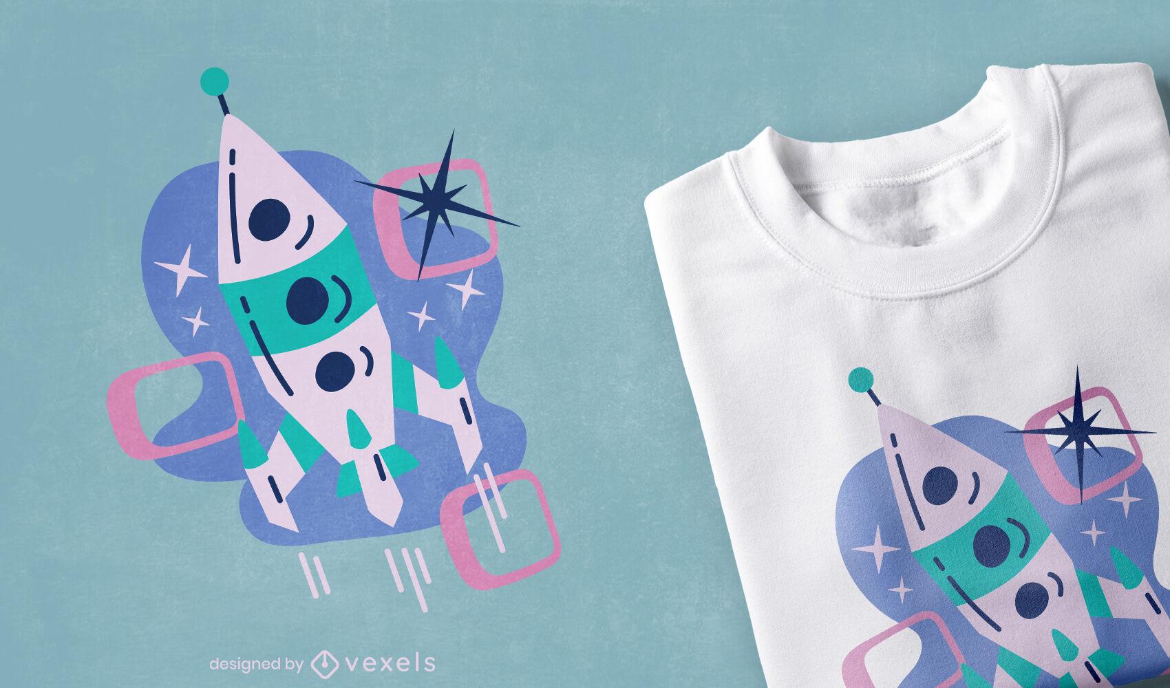 Diseño de camiseta de cohete de estilo vintage