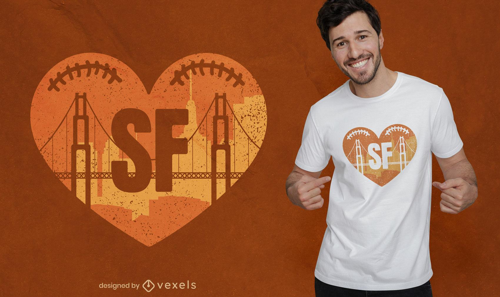 Puente en diseño de camiseta de corazón en forma de fútbol