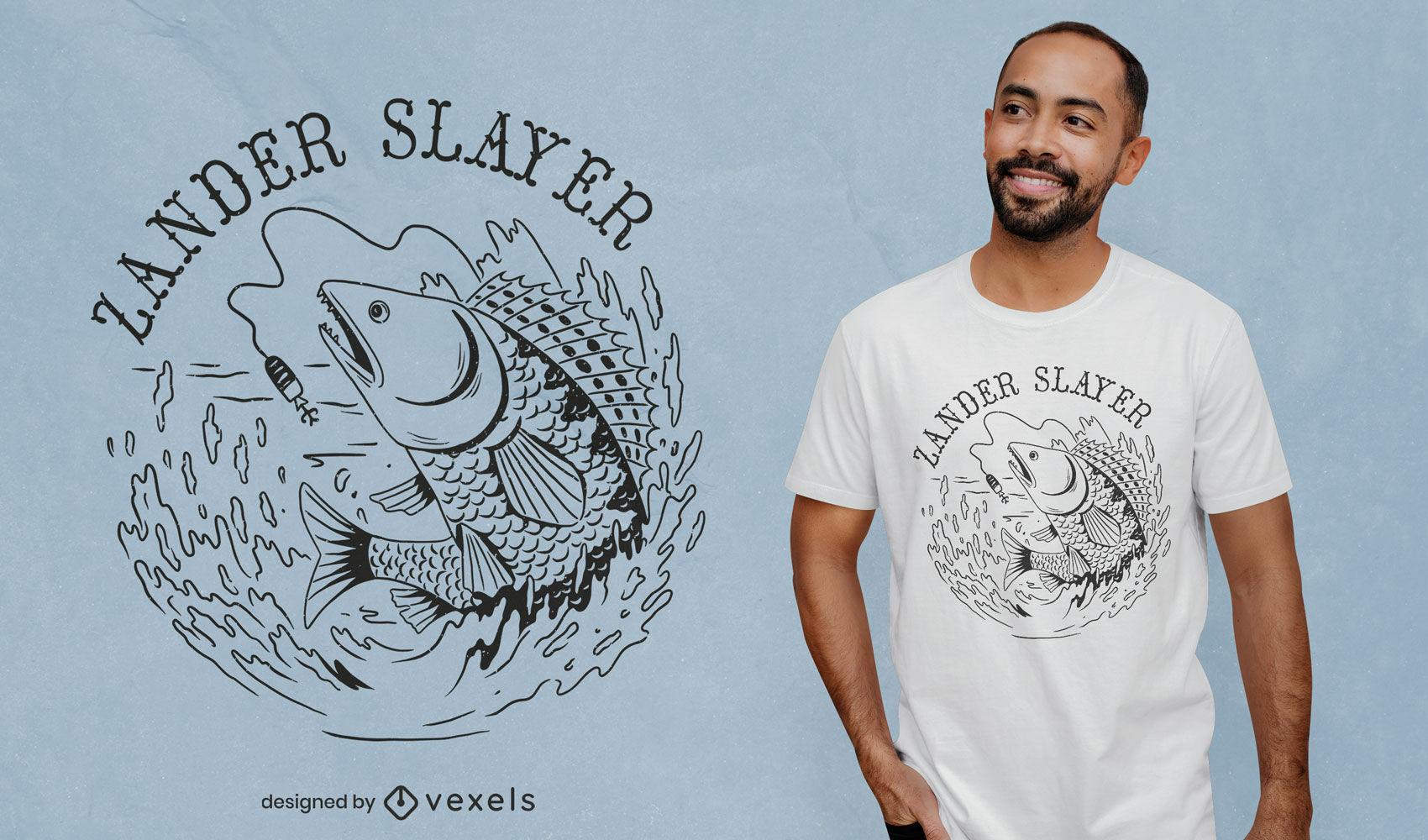 Diseño de camiseta de animal marino de pez zander.