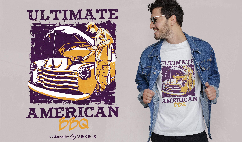 Barbacoa americana en diseño de camiseta de camión.