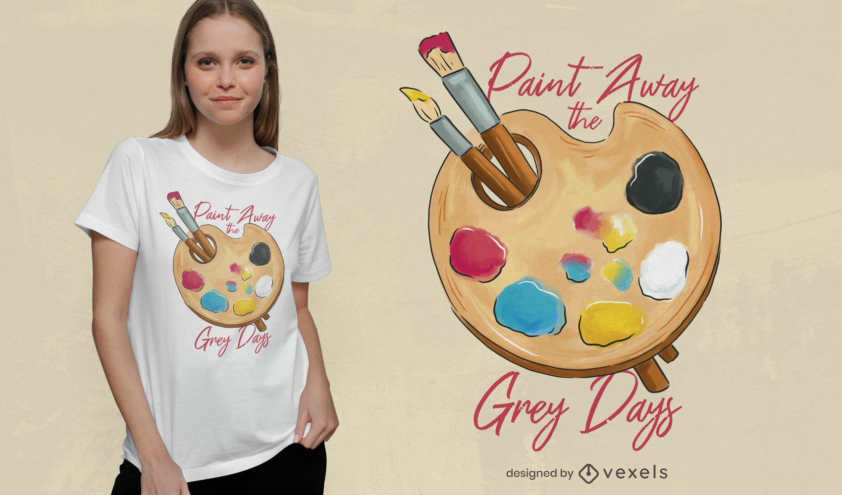 Diseño de camiseta de paleta de colores de pintor.