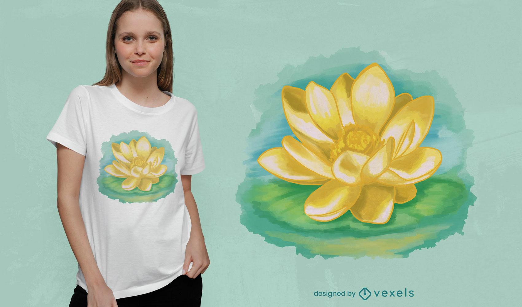 Diseño de camiseta de flor de loto de acuarela