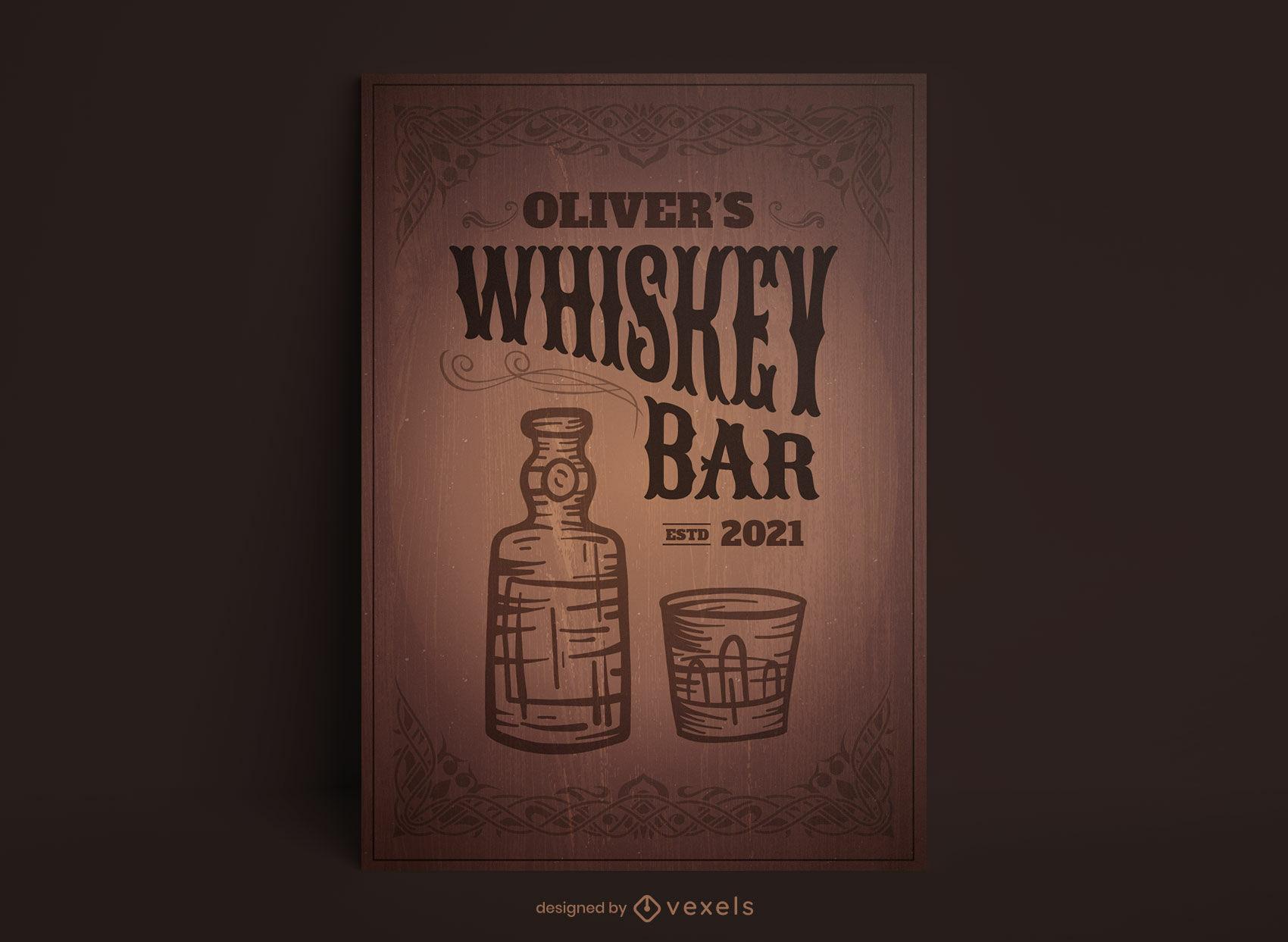 Plantilla de cartel de botella y vidrio de whisky