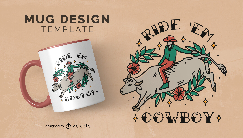Diseño de taza de vaquero montando toro animal
