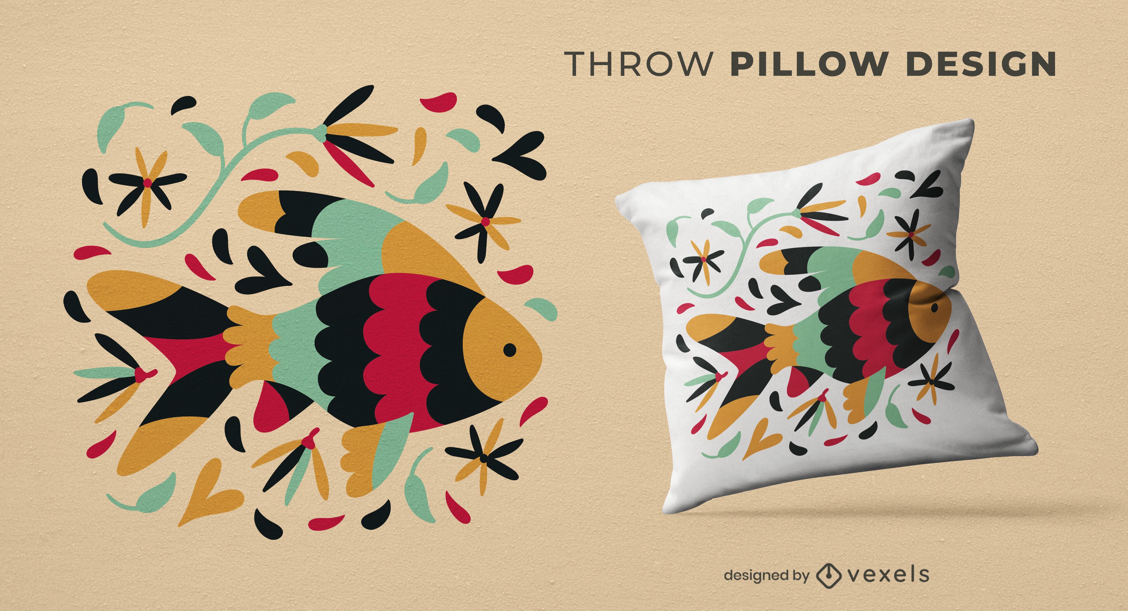 Diseño de almohada de tiro de natación de peces de colores