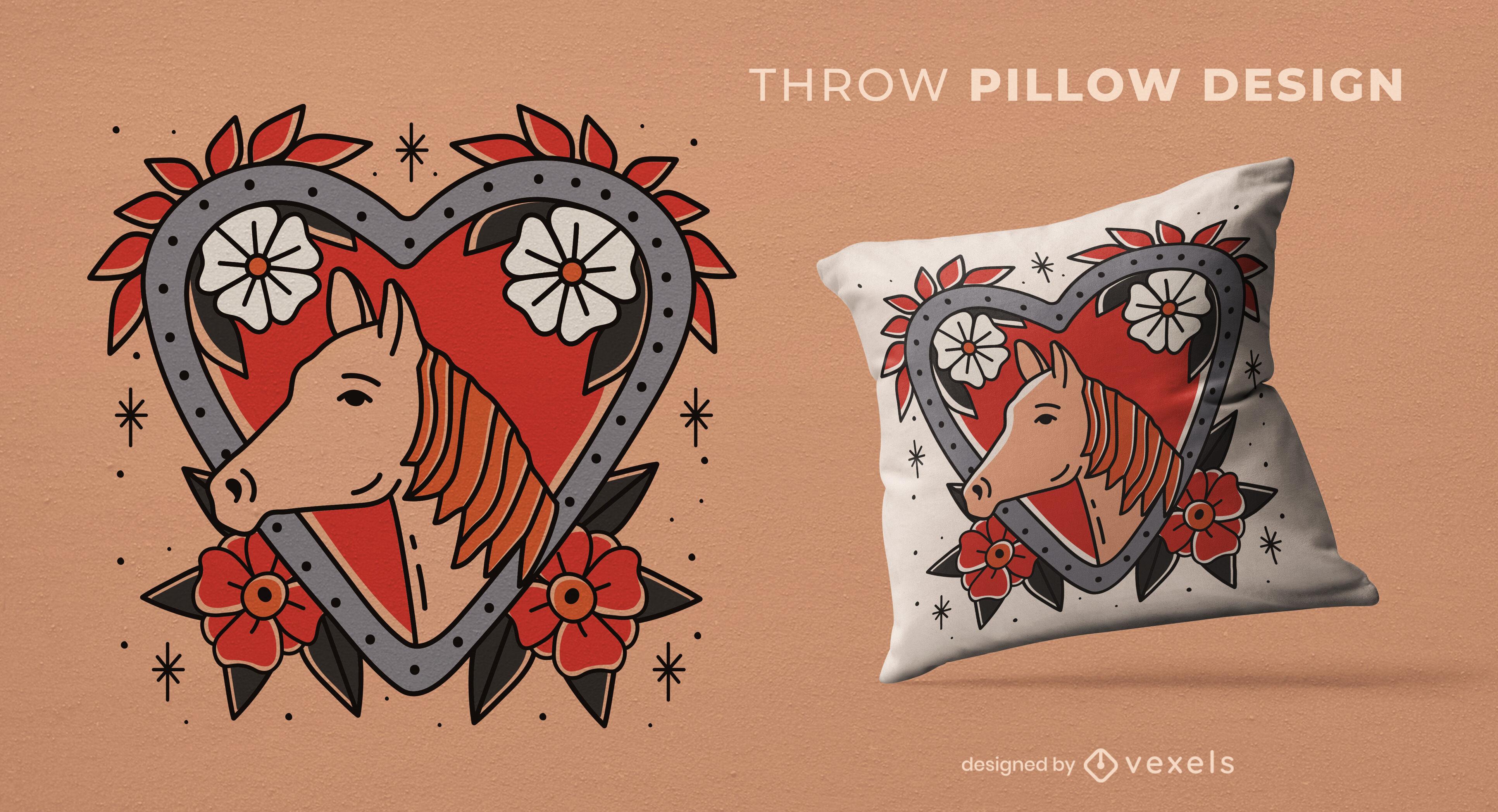 Diseño de almohada con forma de corazón en forma de herradura.