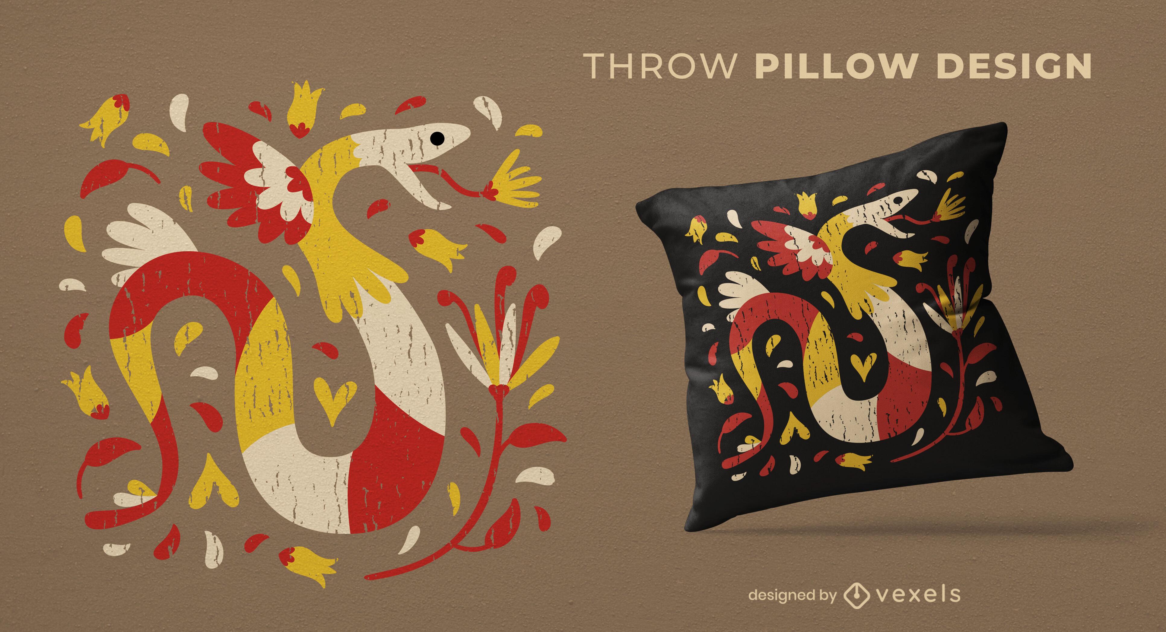 Diseño colorido de la almohada del tiro del animal de la serpiente