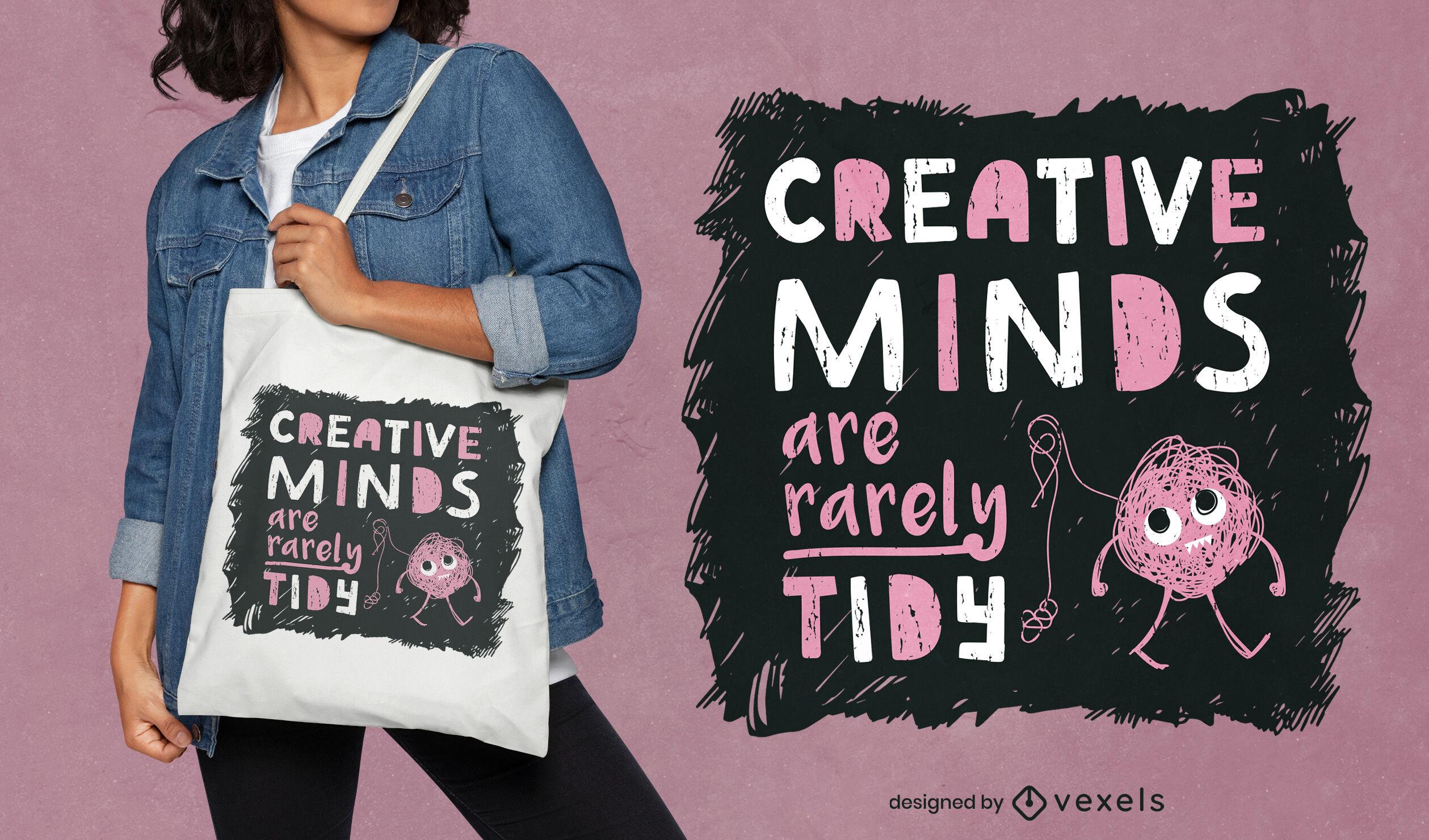 Cute creature chalk tote bag design