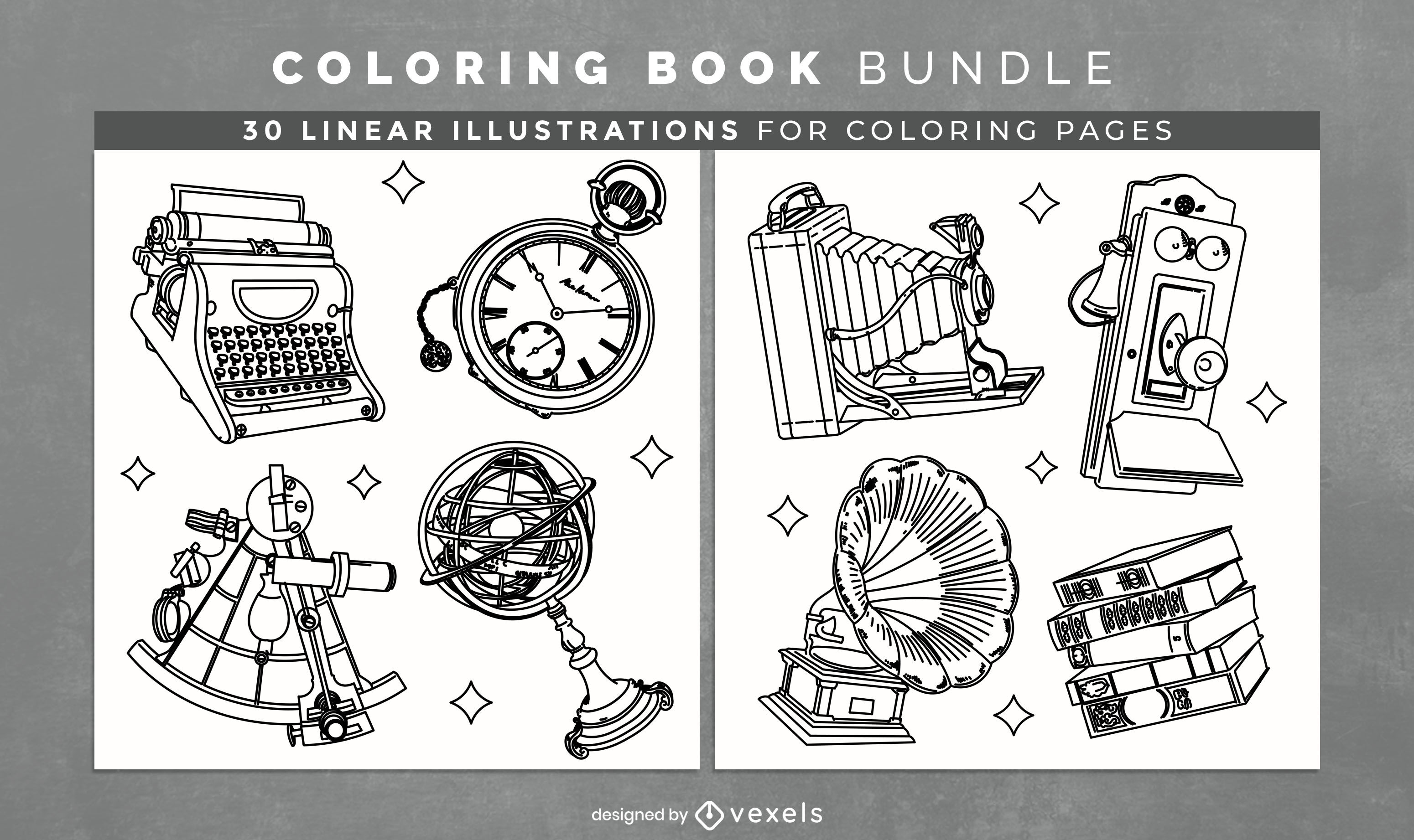 Vintage machines coloring book pages design