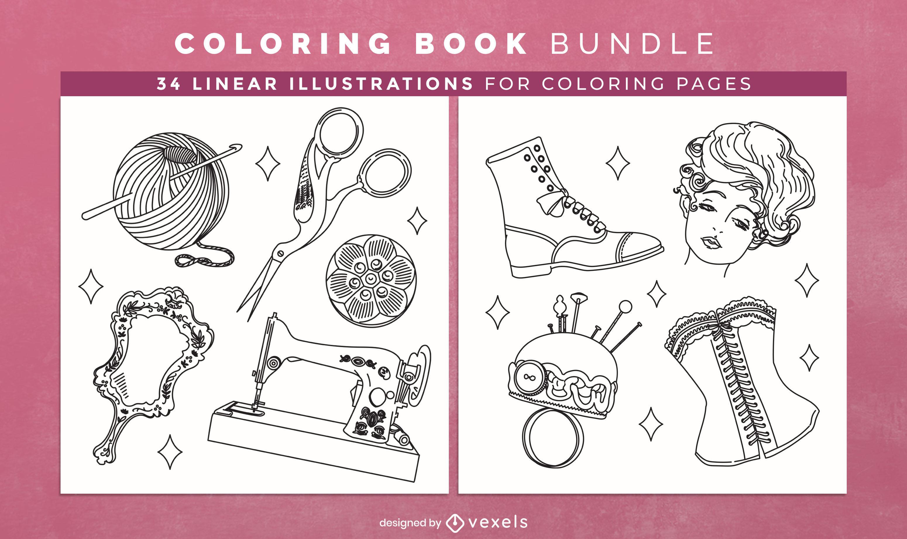 Accesorios vintage para colorear páginas de diseño de libros