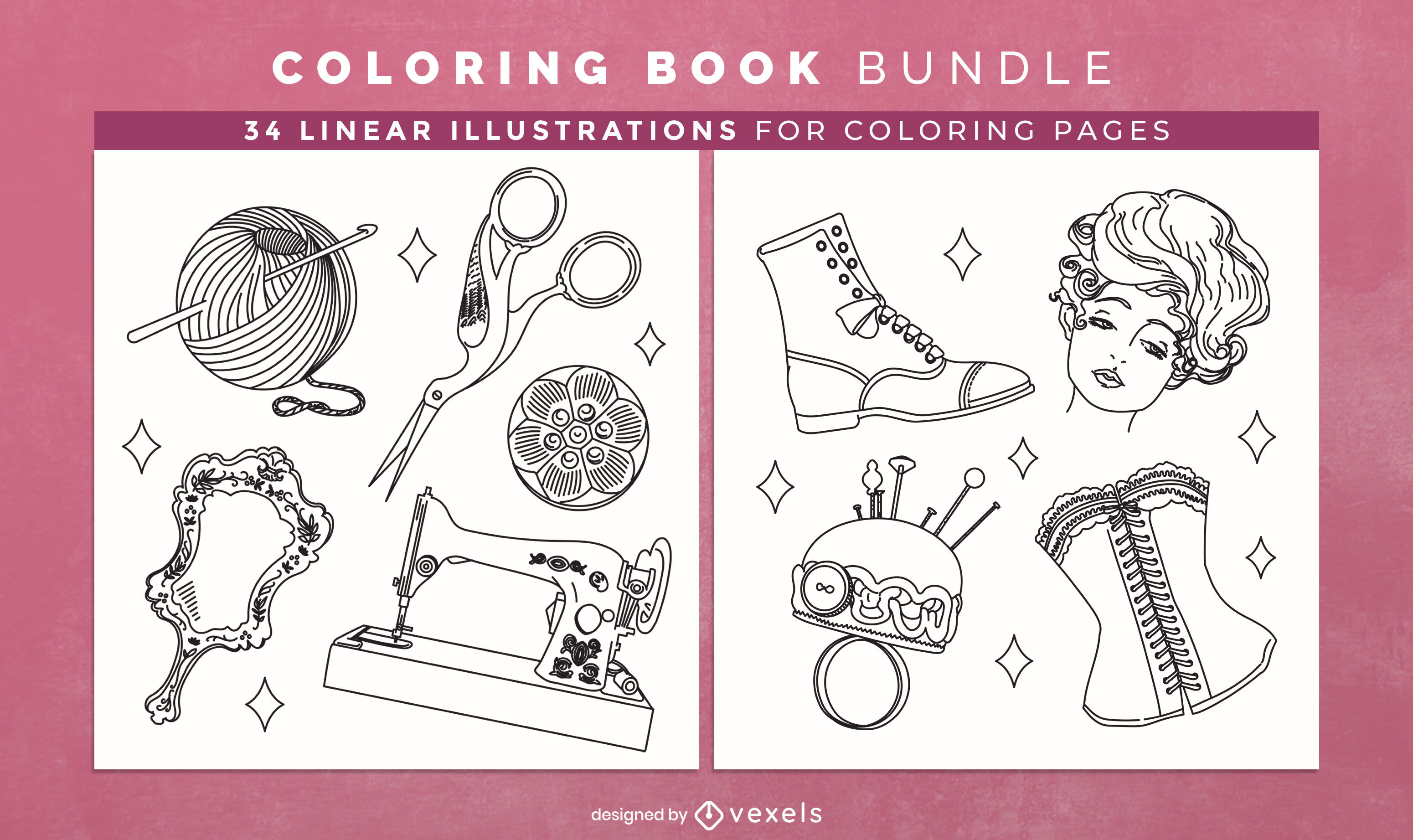 Vintage accesories coloring book design pages