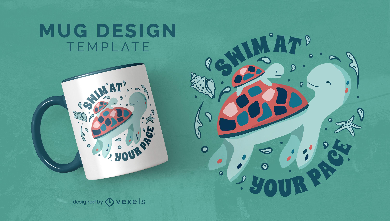 Animais de tartaruga nadando design de caneca