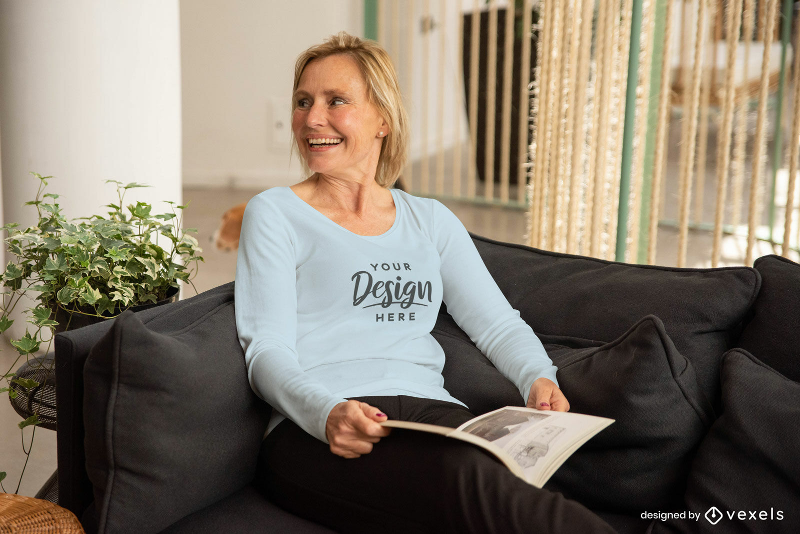 Woman in couch with long sleeve t-shirt mockup