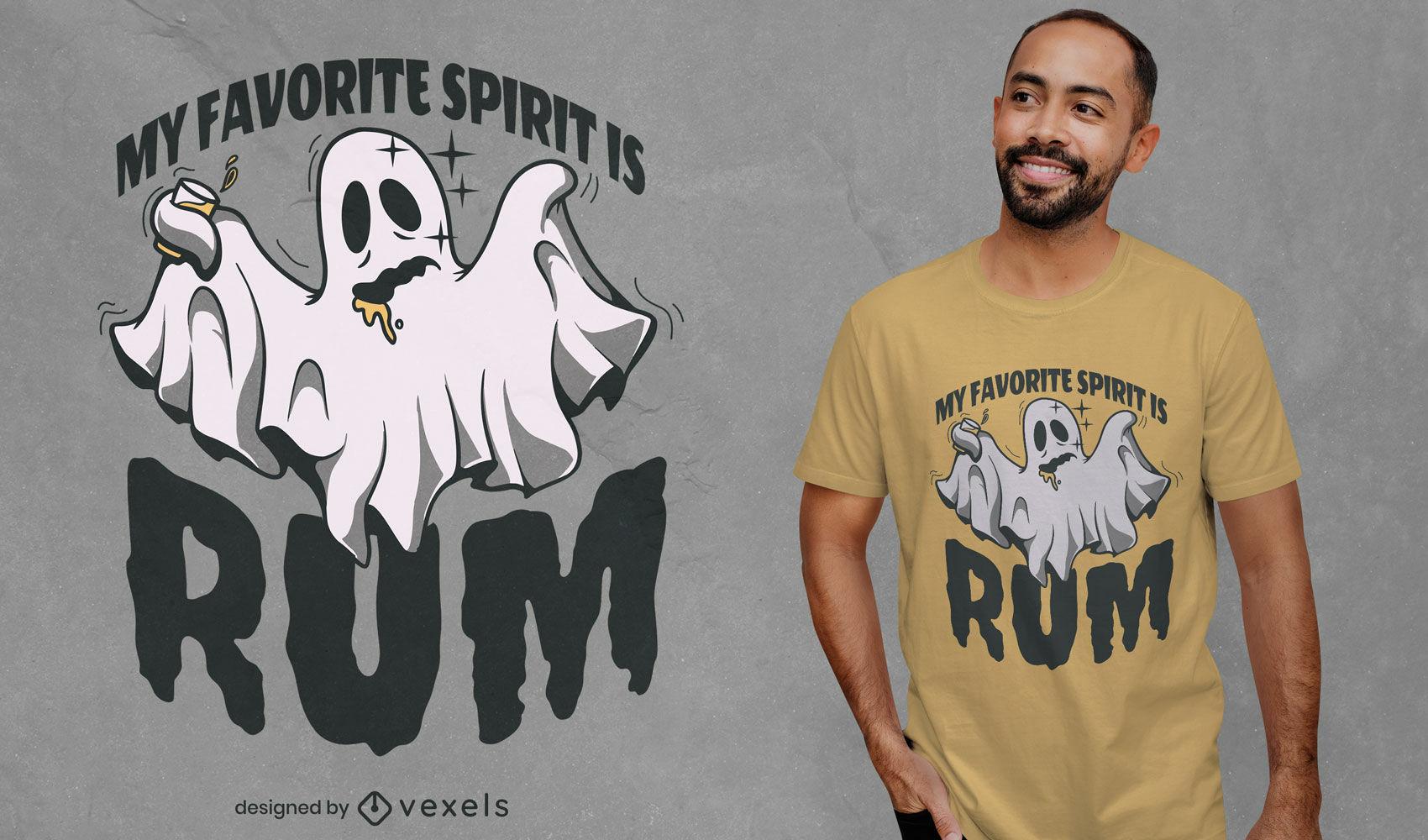 Fantasma bêbado com design de camiseta com bebida de rum