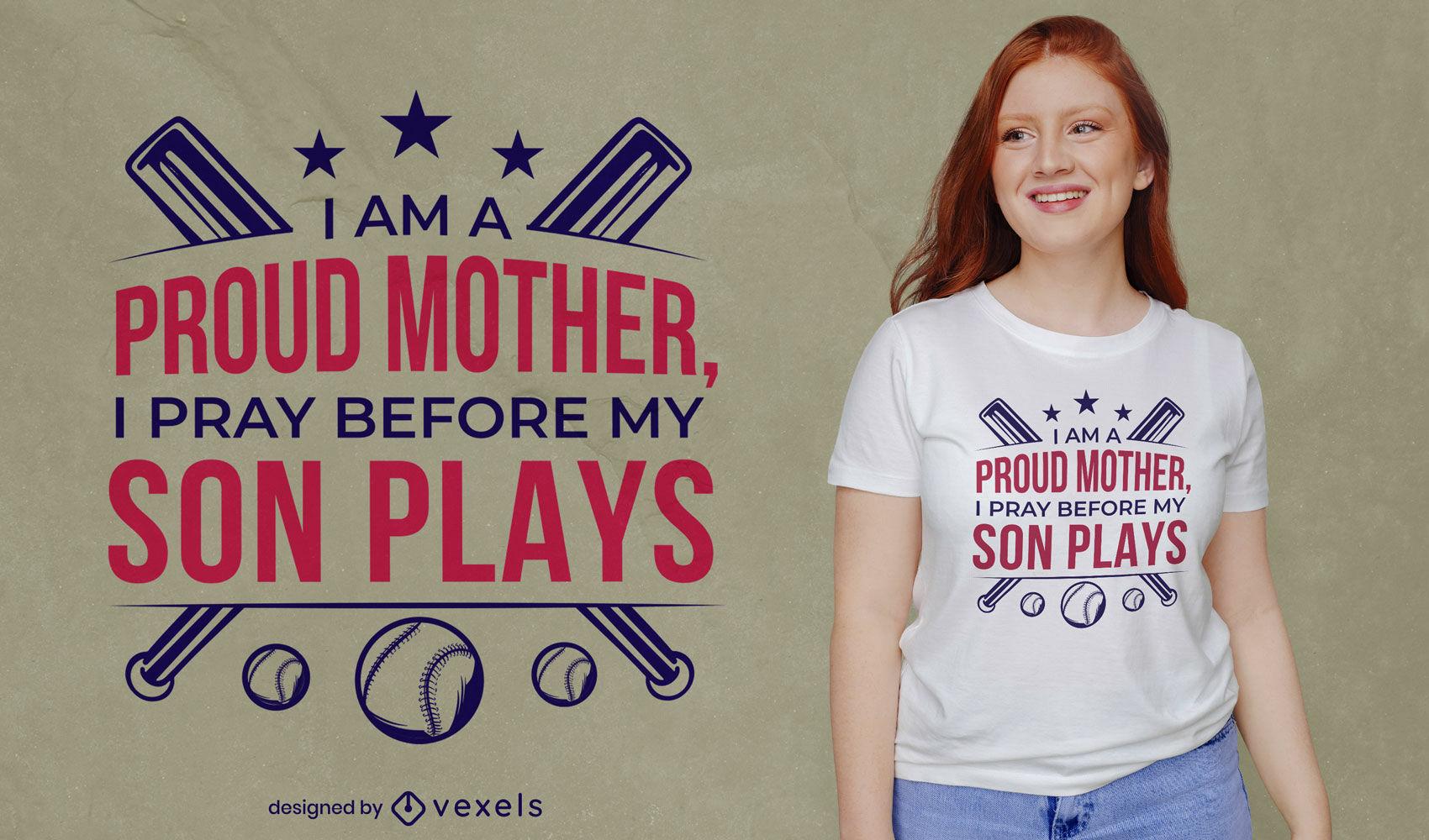 Orgulloso diseño de camiseta de mamá deportiva de béisbol.