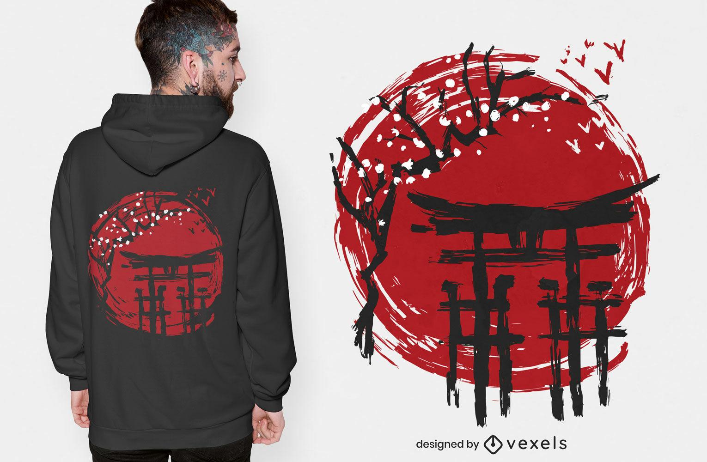 Japanisches T-Shirt mit Sakura-Baum im Tempel