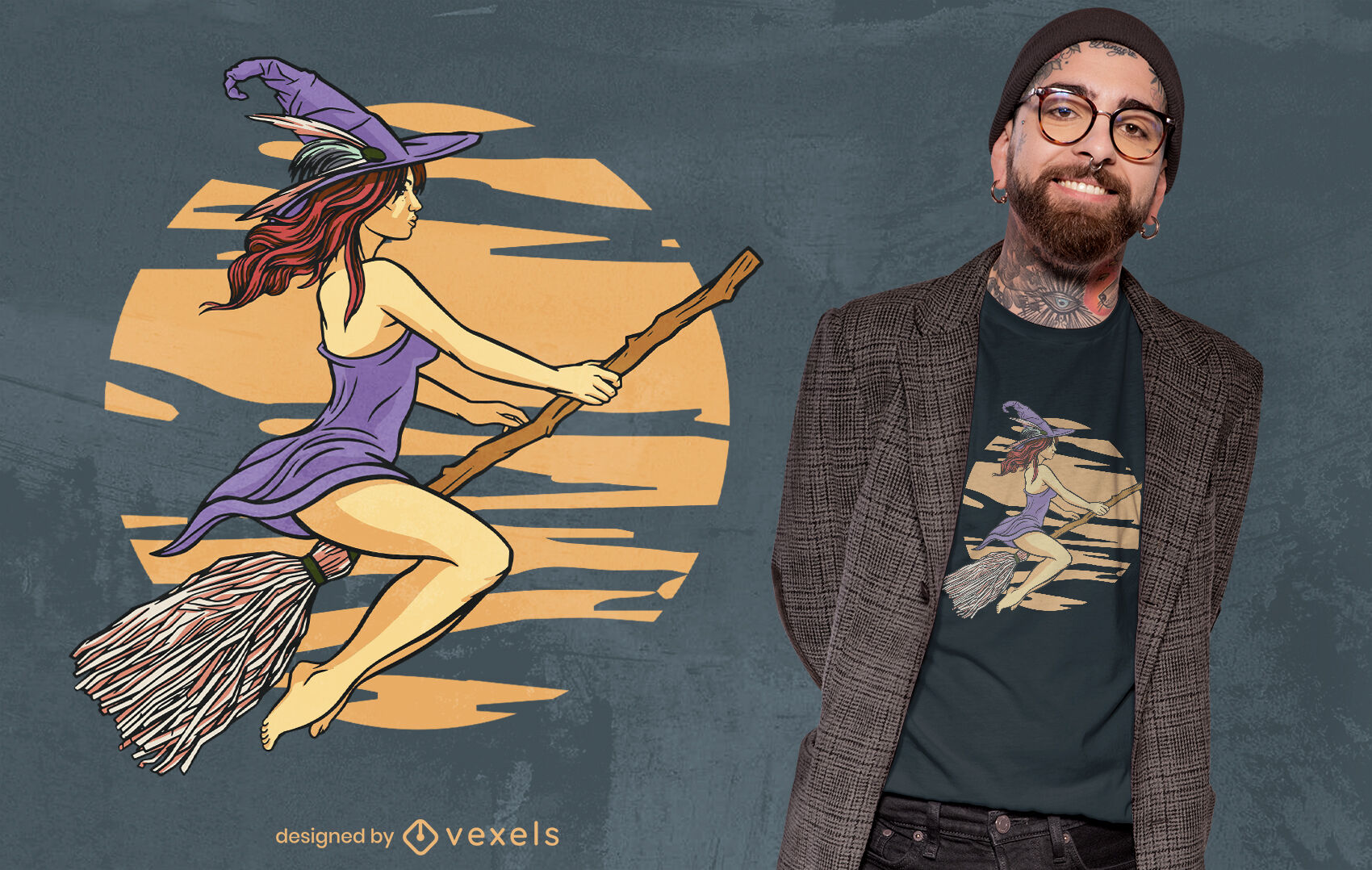 ANFRAGE Hexe fliegt auf Besen T-Shirt Design