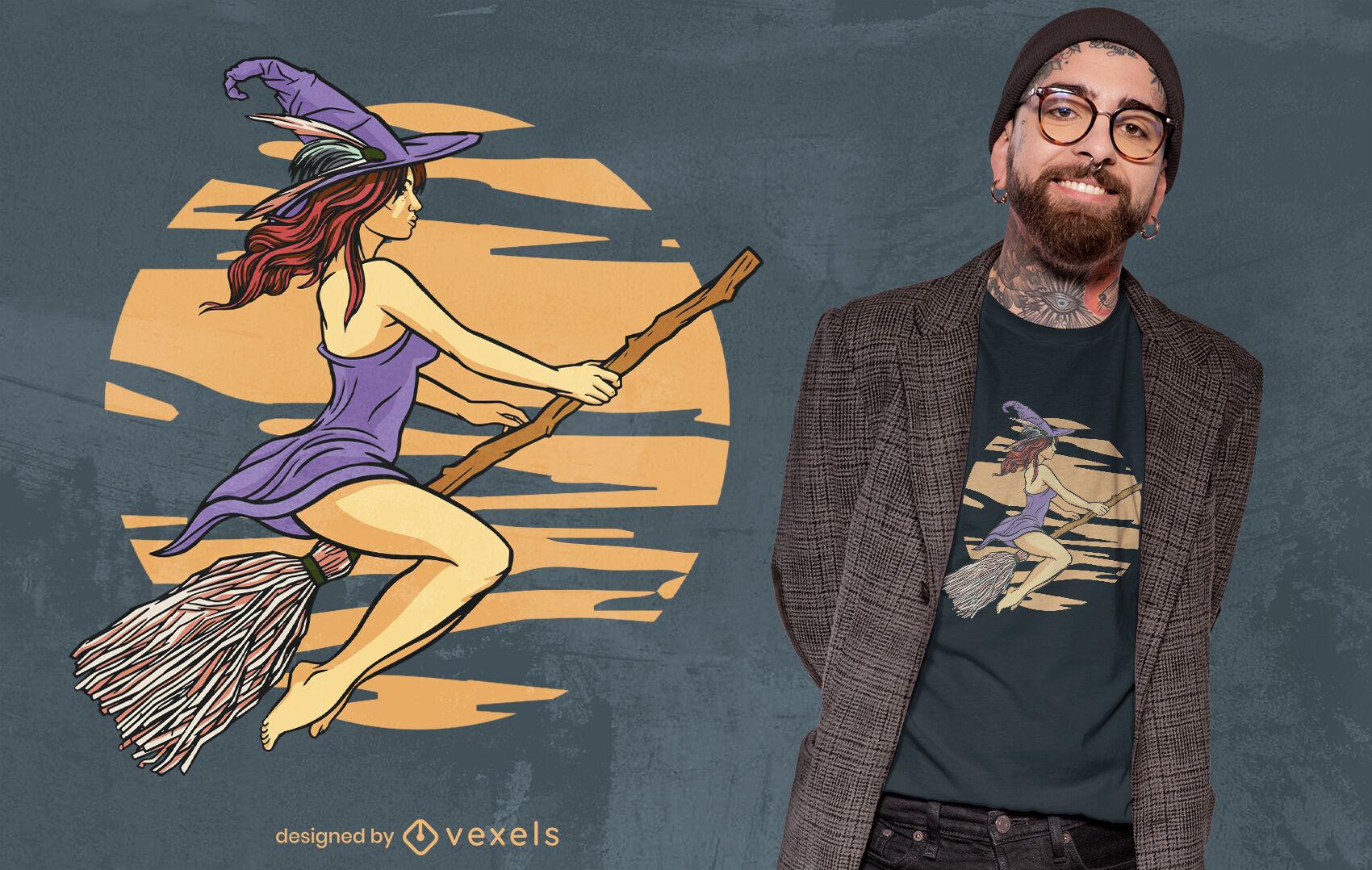 PEDIDO Desenho de camiseta de bruxa voando em vassoura