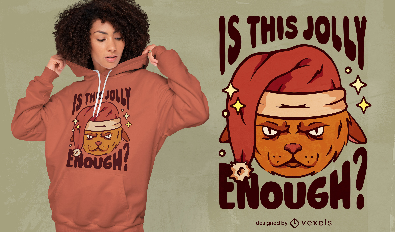 Dise?o de camiseta de gato enojado anti navidad