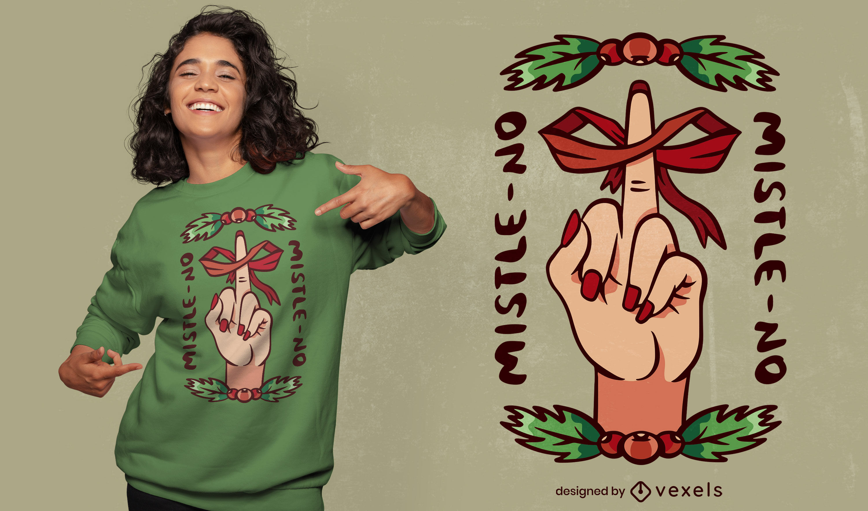 Middle finger and mistletoe t-shirt design