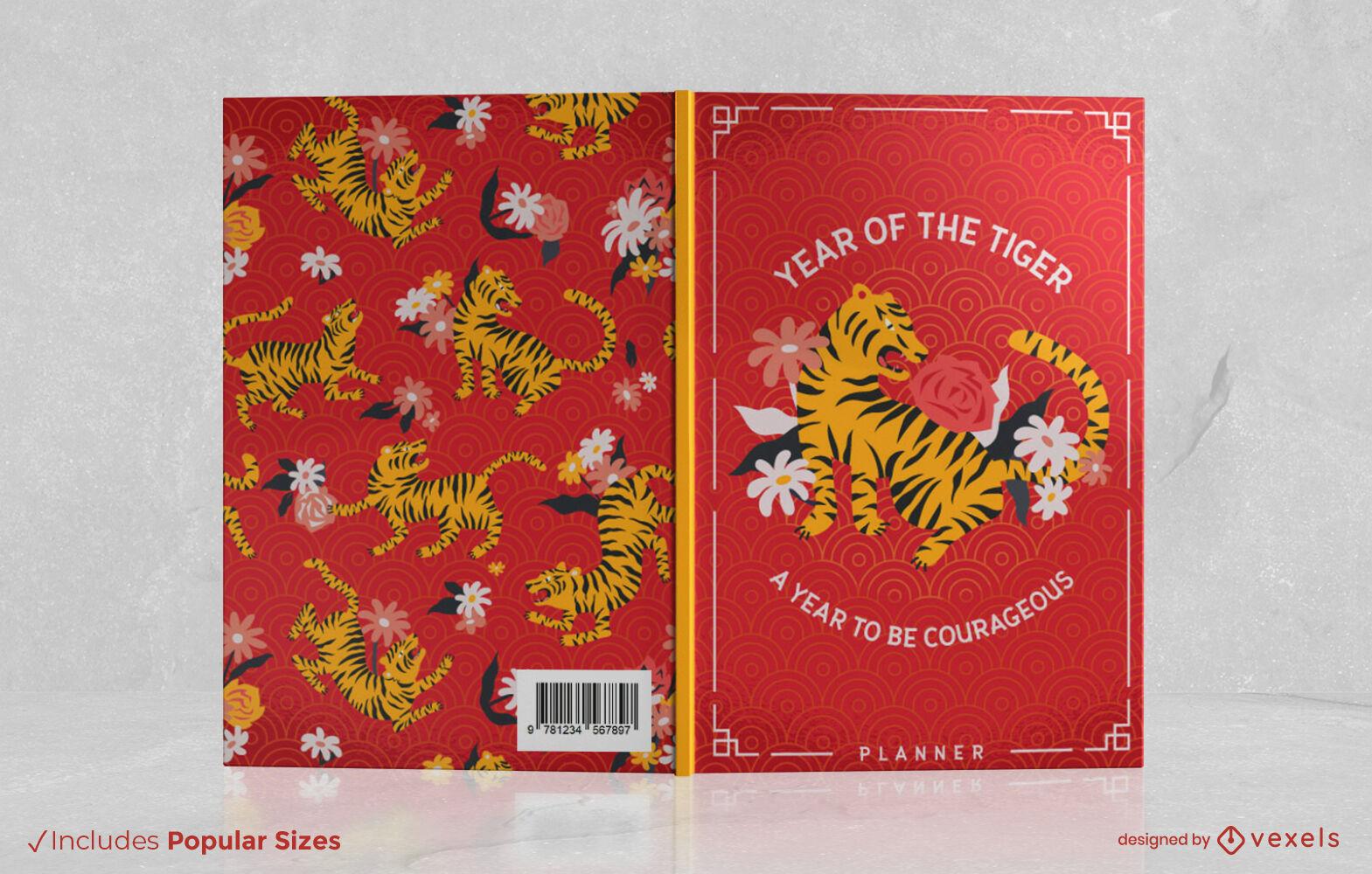 Dise?o de portada floral del a?o del tigre.
