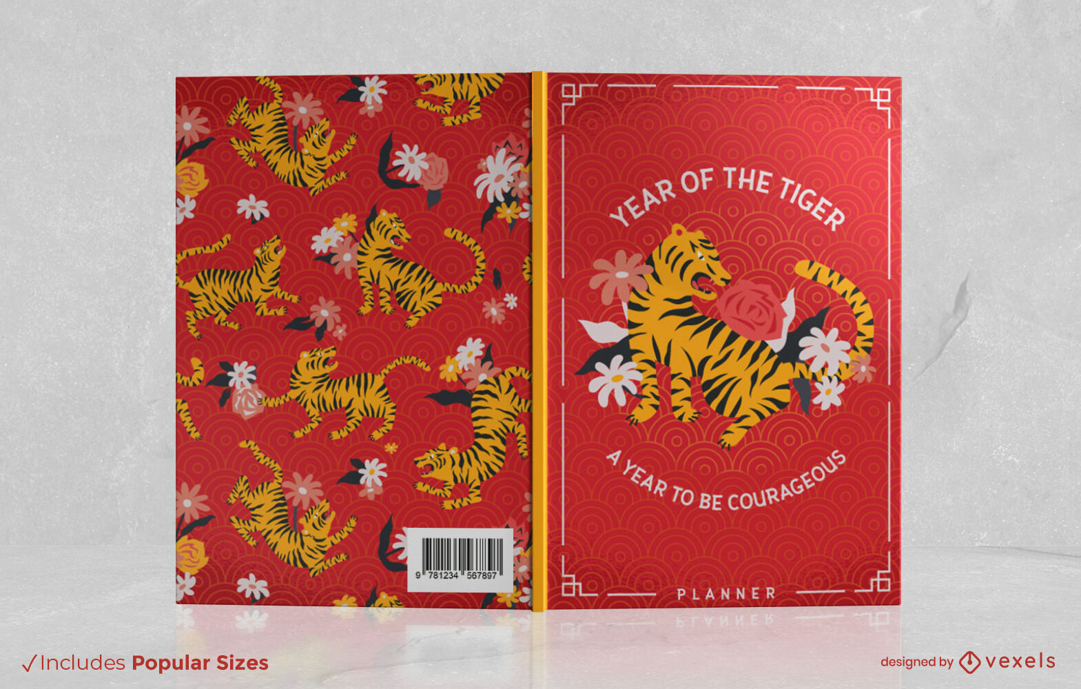 Year of the tiger floral cover design