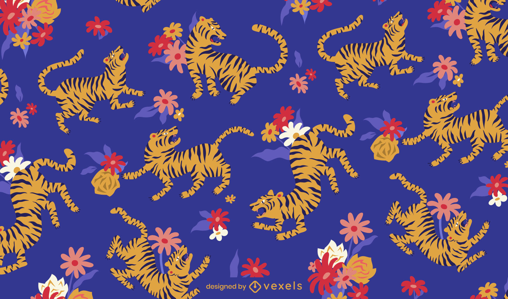 Año chino del diseño del patrón del tigre.
