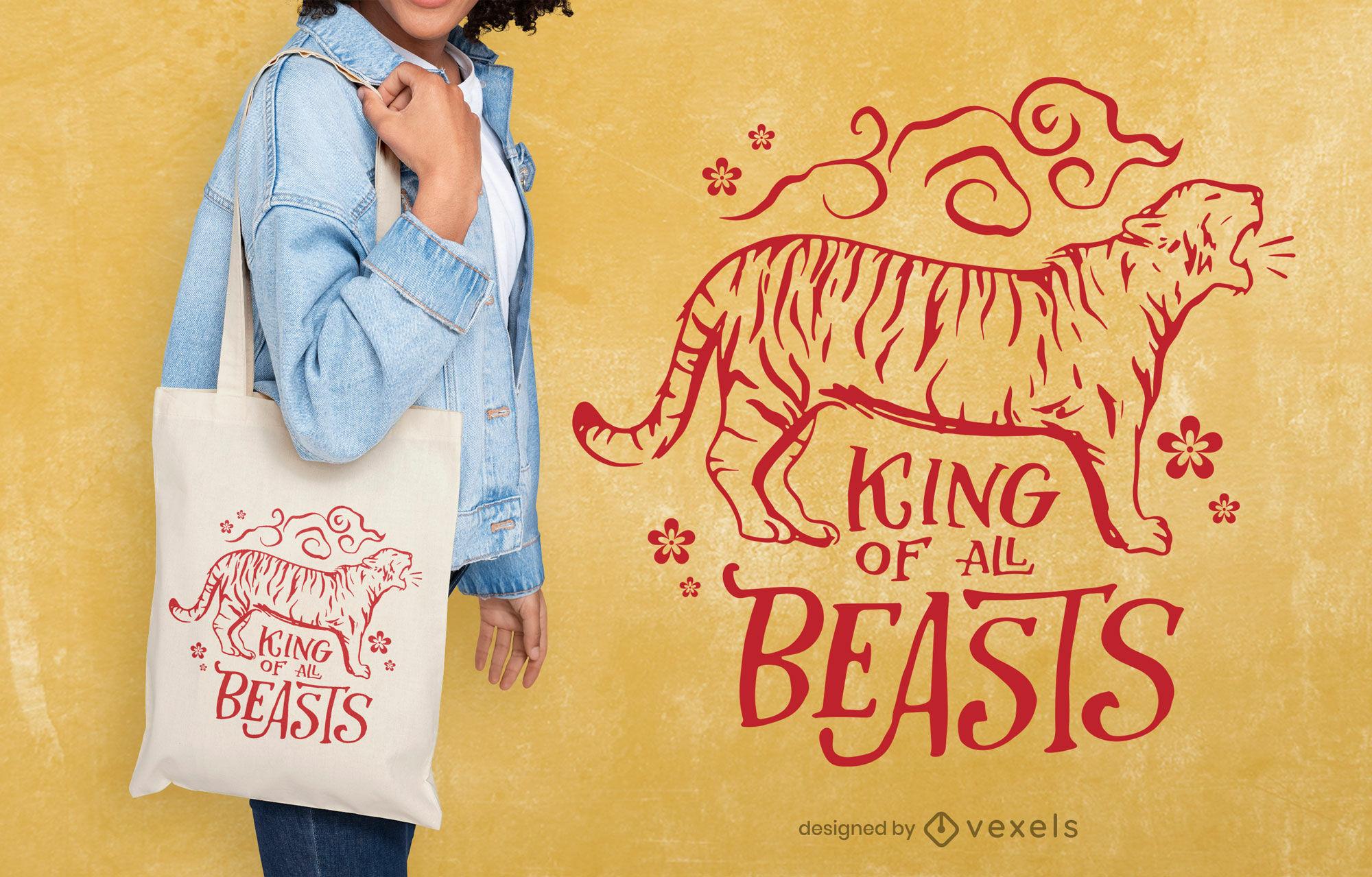 Tiger wild animal stroke tote bag design