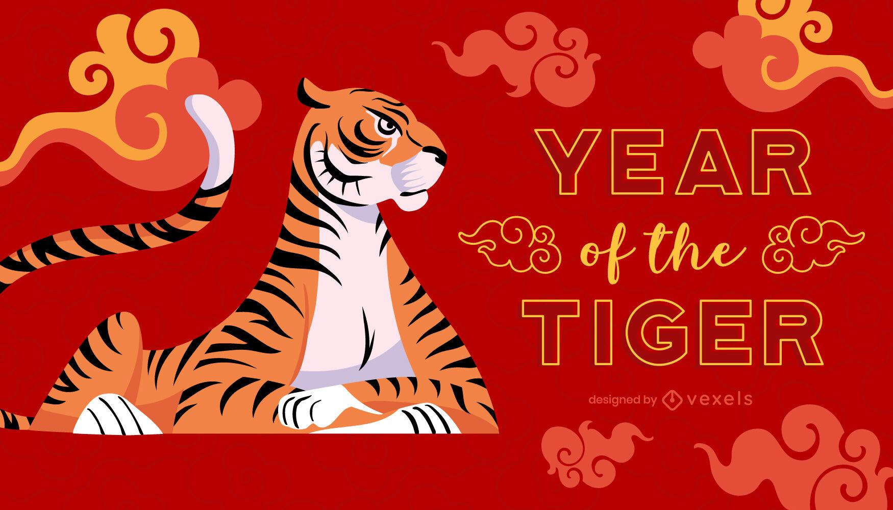 Ilustración del año chino del tigre