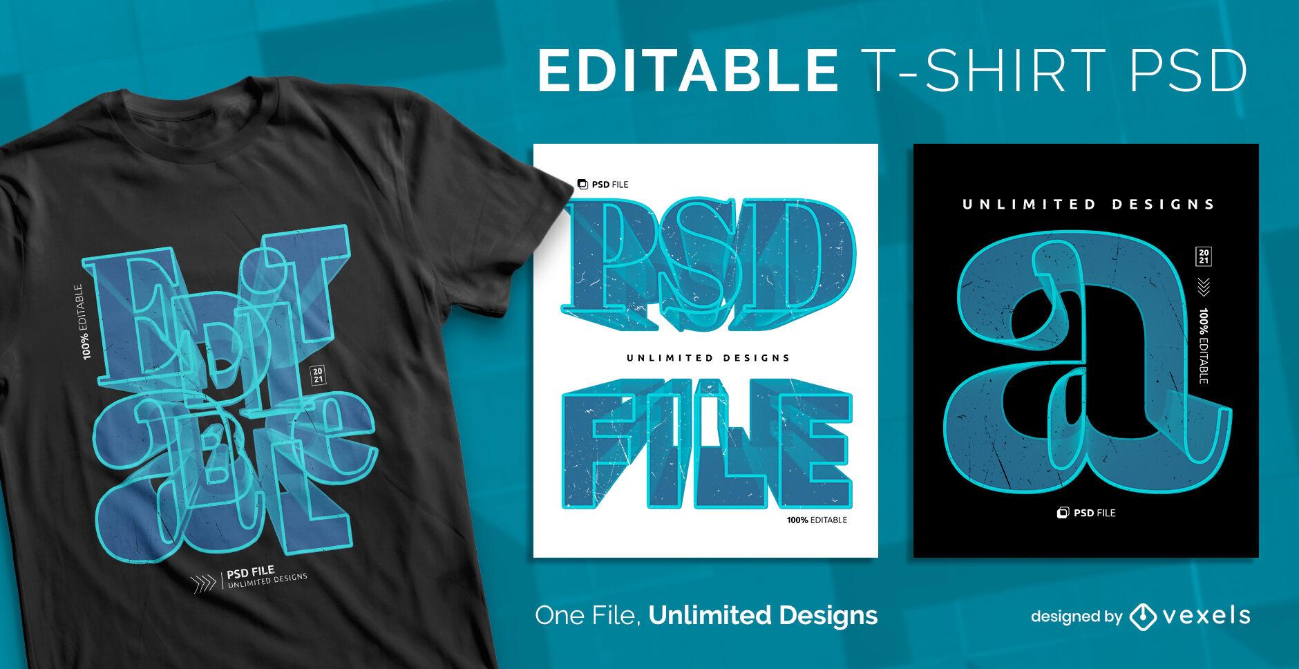 3D-Center-Text skalierbare PSD-T-Shirt-Vorlage